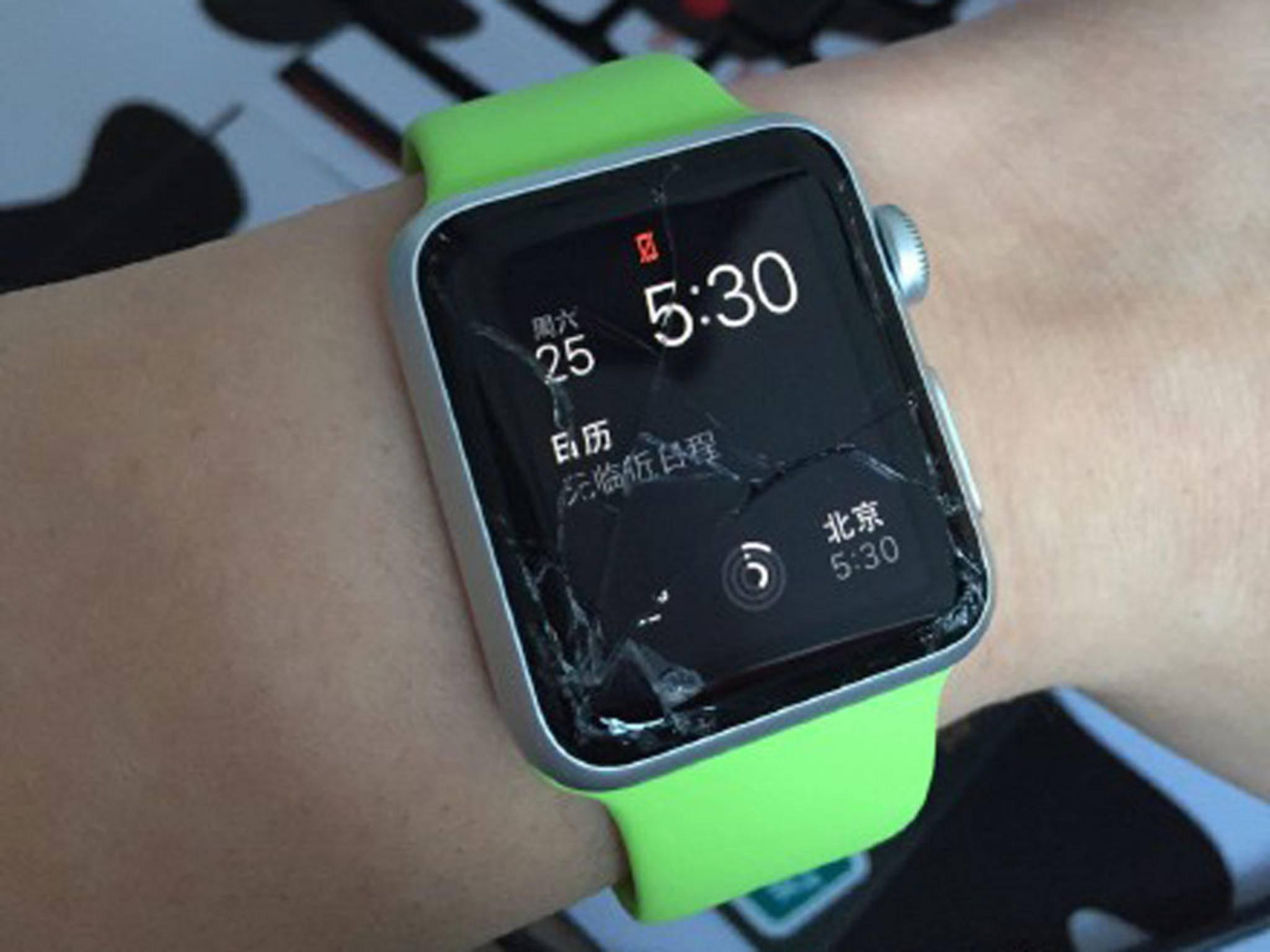 Kaputte Apple Watch: Diese Uhr ist in China beschädigt worden.