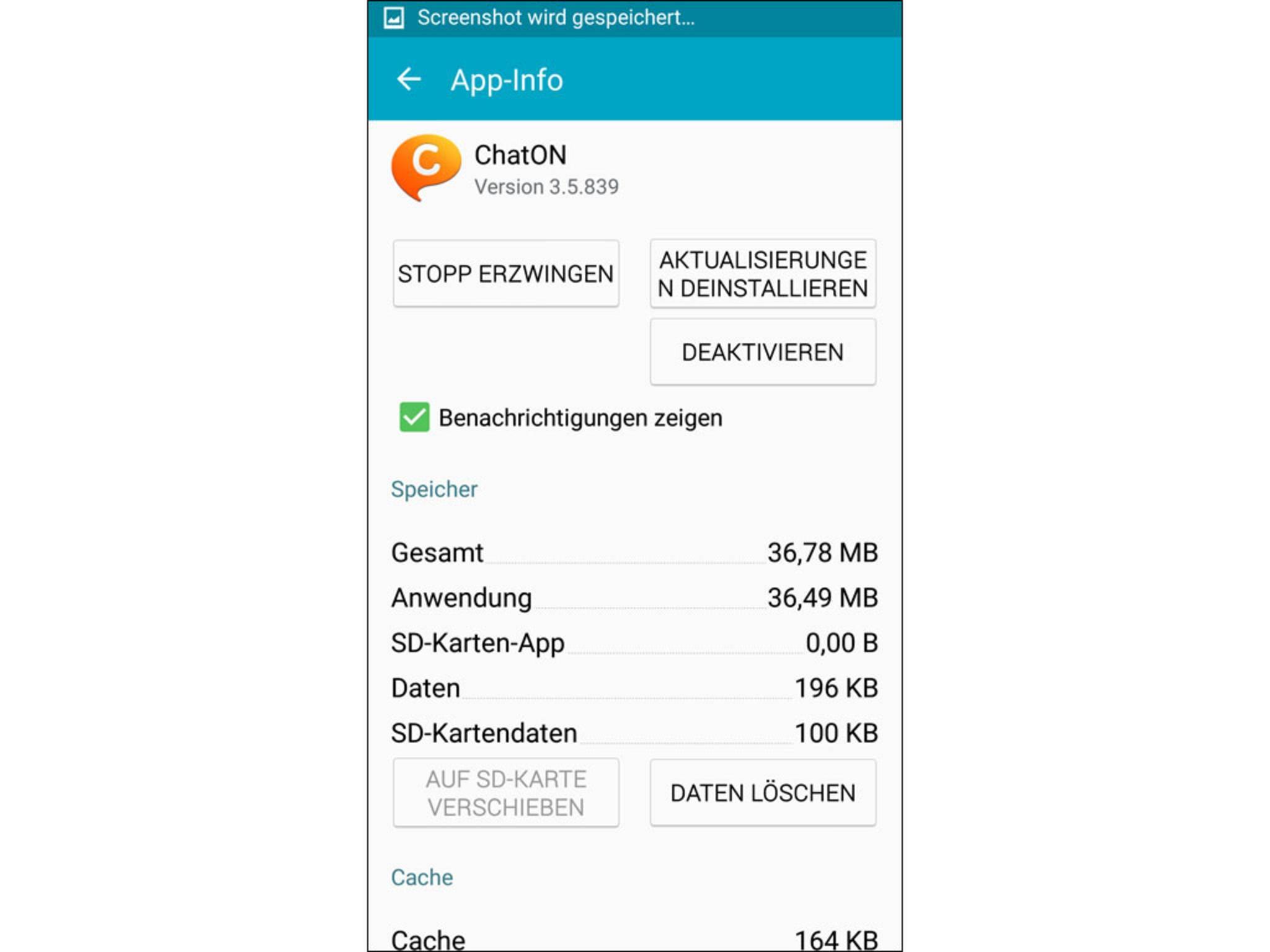 """Der Messenger ChatON von Samsung ist typische Bloatware. Man tippt hier auf  die Schaltfläche """"Deaktivieren""""."""