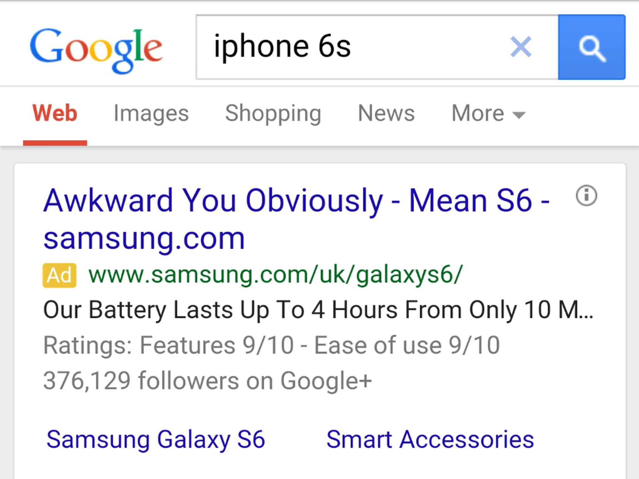 Hast Du Dich vertan? So machte Samsung anscheinend Werbung bei Google.
