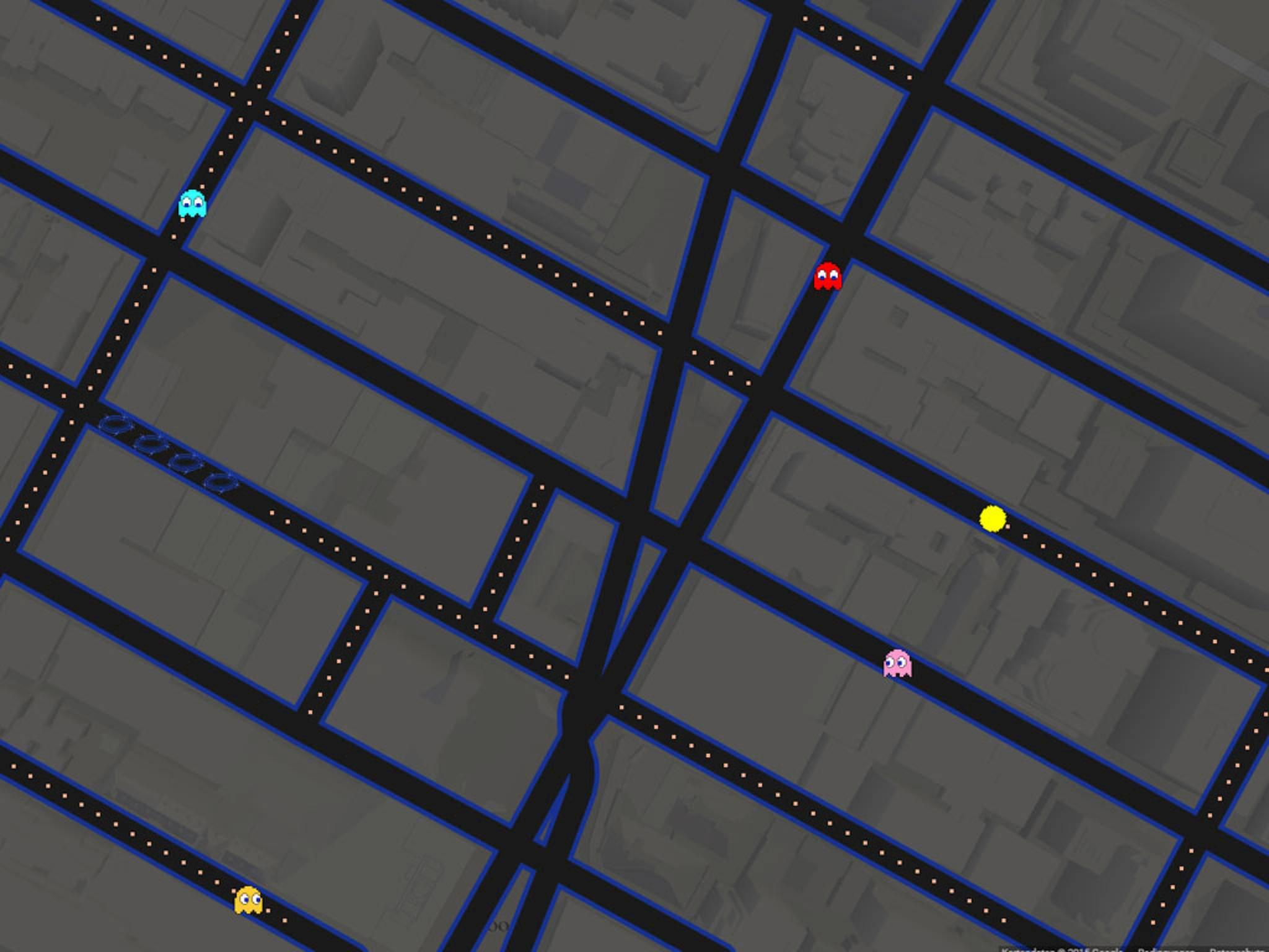 Pac-Man für Google Maps ließ sich auch auf Android-Smartphones spielen.