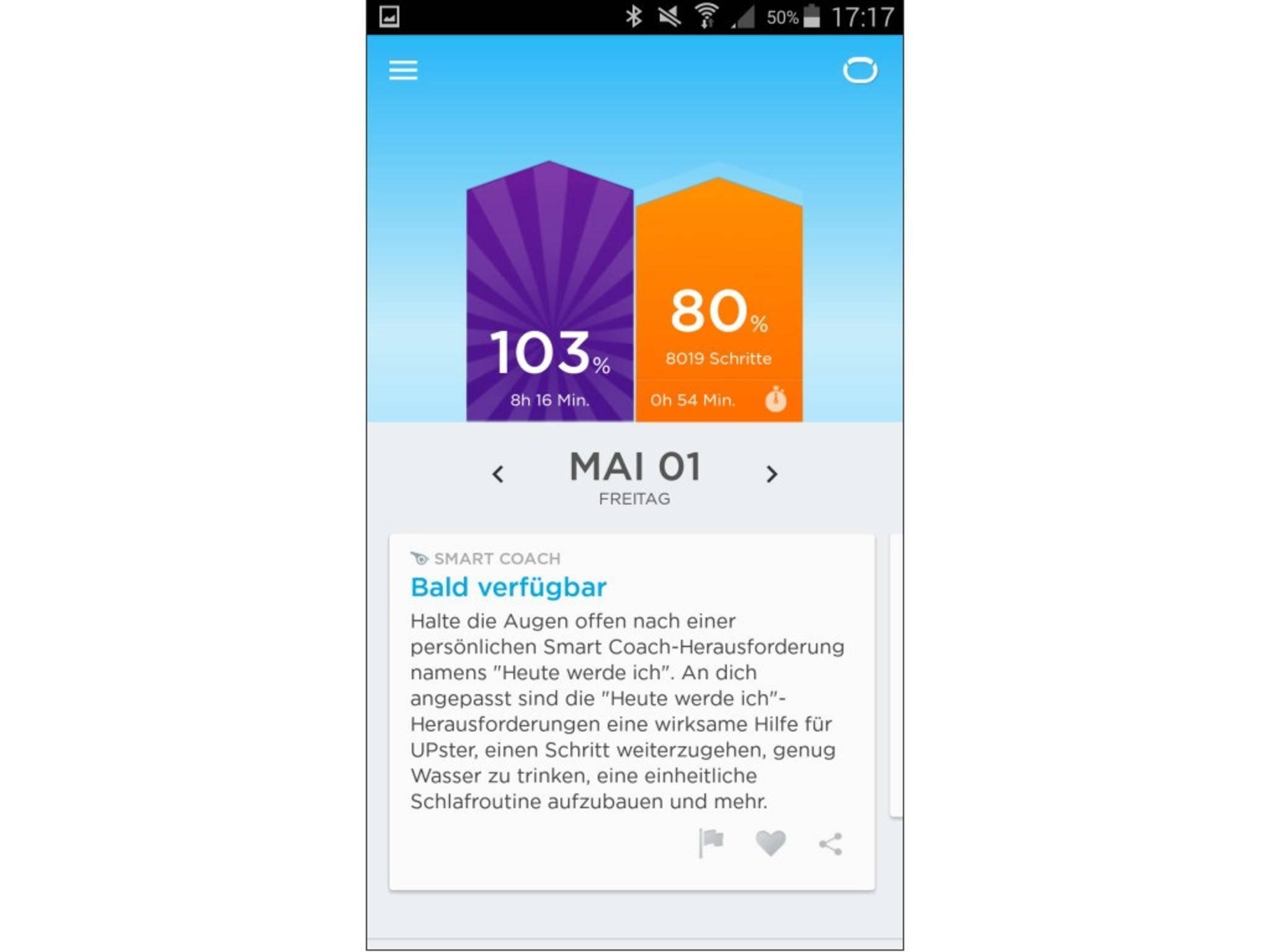 Auf der Startseite gibt die App einen Überblick über den Stand der Tagesziele.