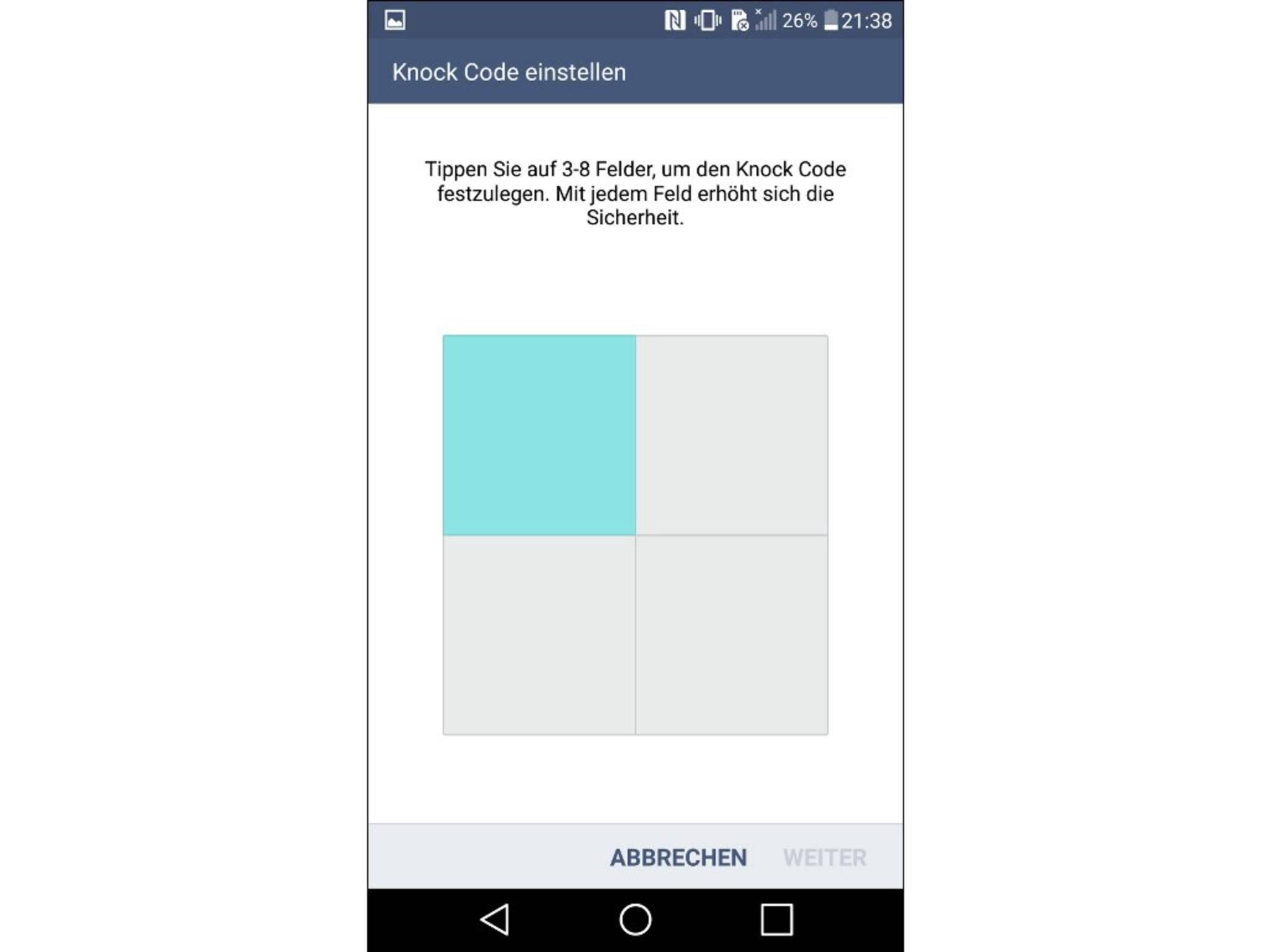Für den Knock Code wird das Display in vier Felder eingeteilt.