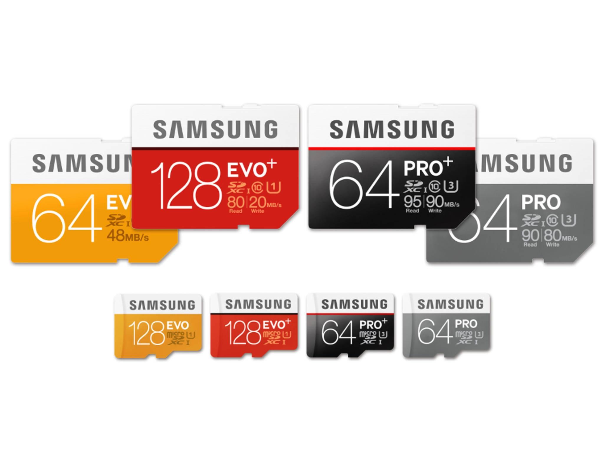 Die neuen SD-Karten Evo Plus und Pro Plus von Samsung.
