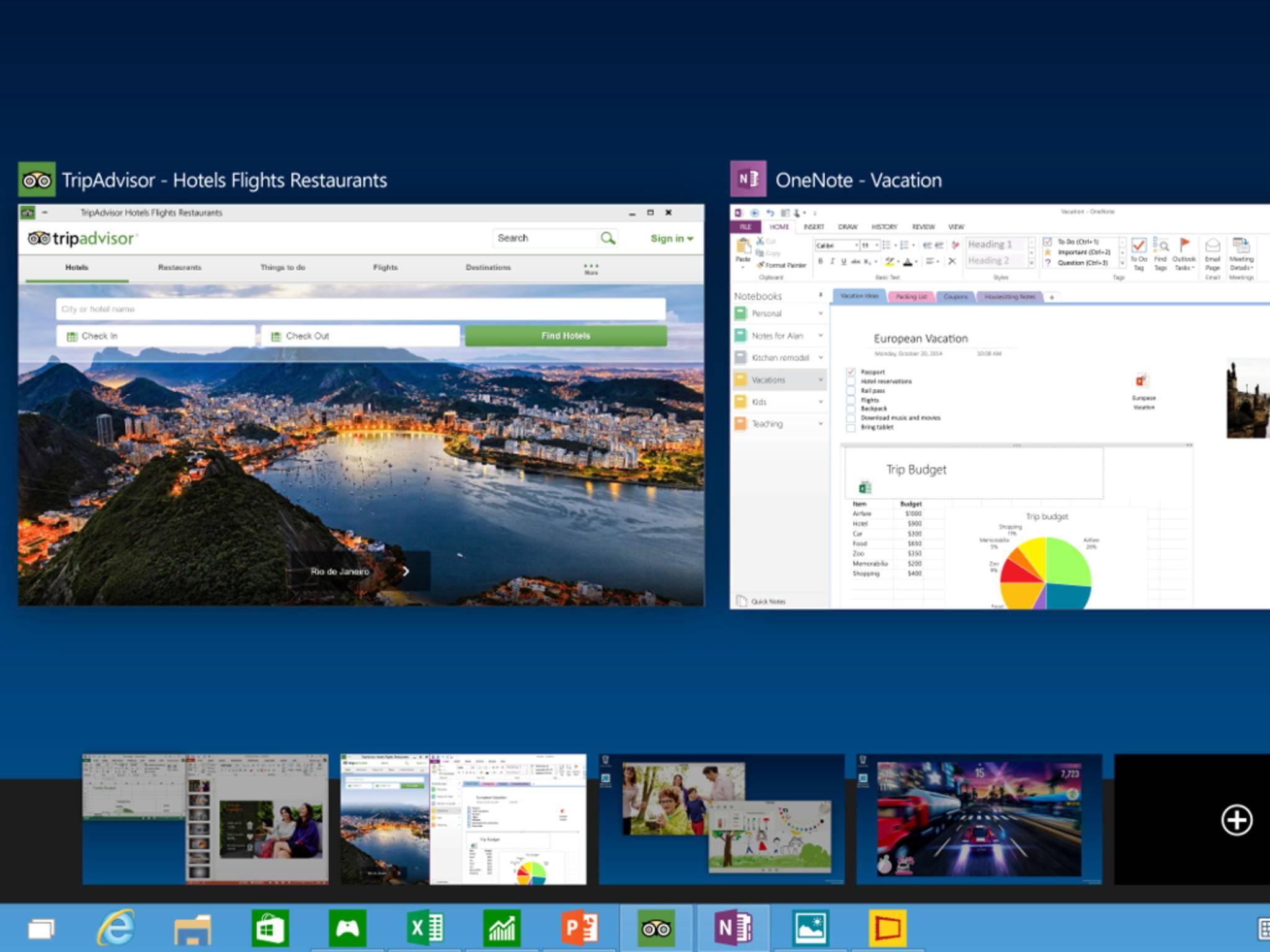Mit Windows 10 können mehrere Desktops parallel verwaltet werden.