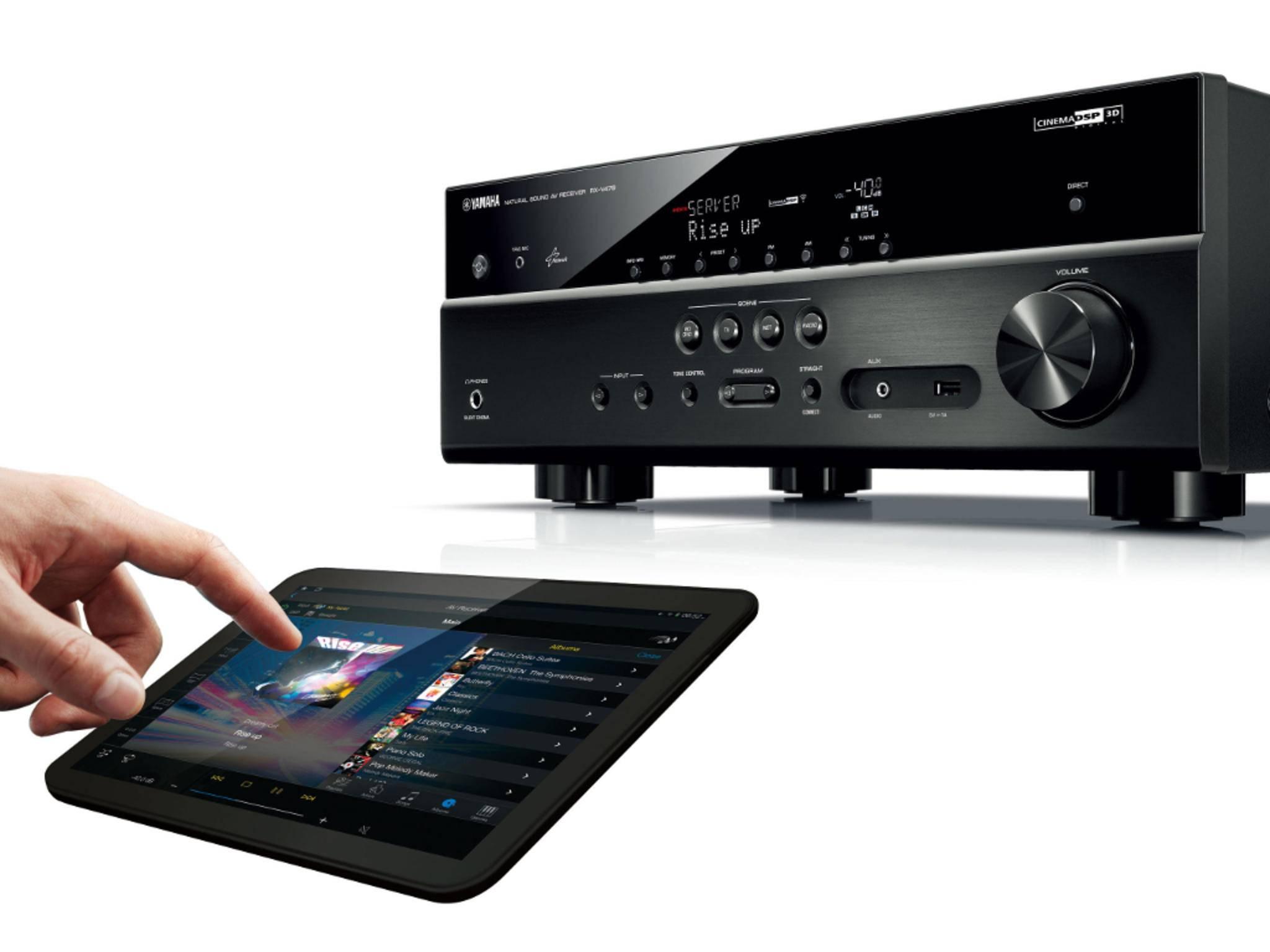 Die neuen AV-Receiver von Yamaha verbinden sich drahtlos mit Smartphones oder Tablets.