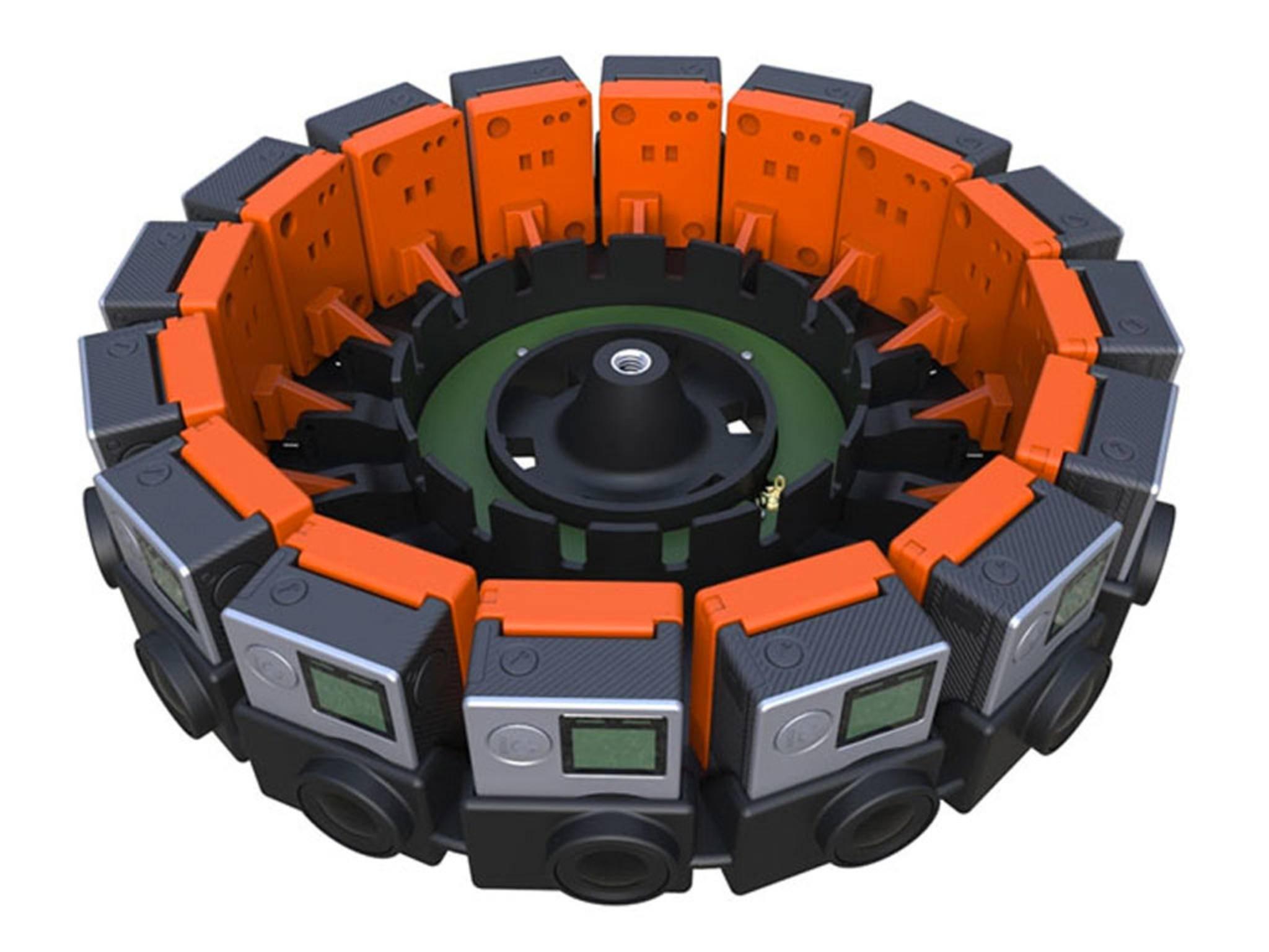 In diese Vorrichtung passen 16 GoPro-Kameras.