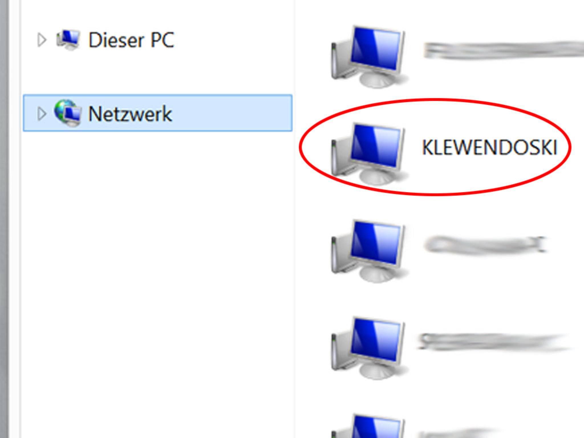 Dann geht's über Netzwerk zum PC mit dem freigegebenen Ordner.