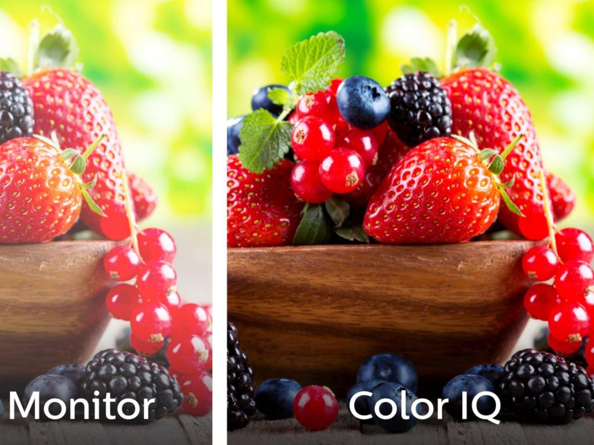 """Die Quantum-Dot-Technik – von Philips """"Color IQ"""" genannt – soll im Vergleich zu herkömmlichen LCD-Bildschirmen (links) schönere Farben zeigen."""