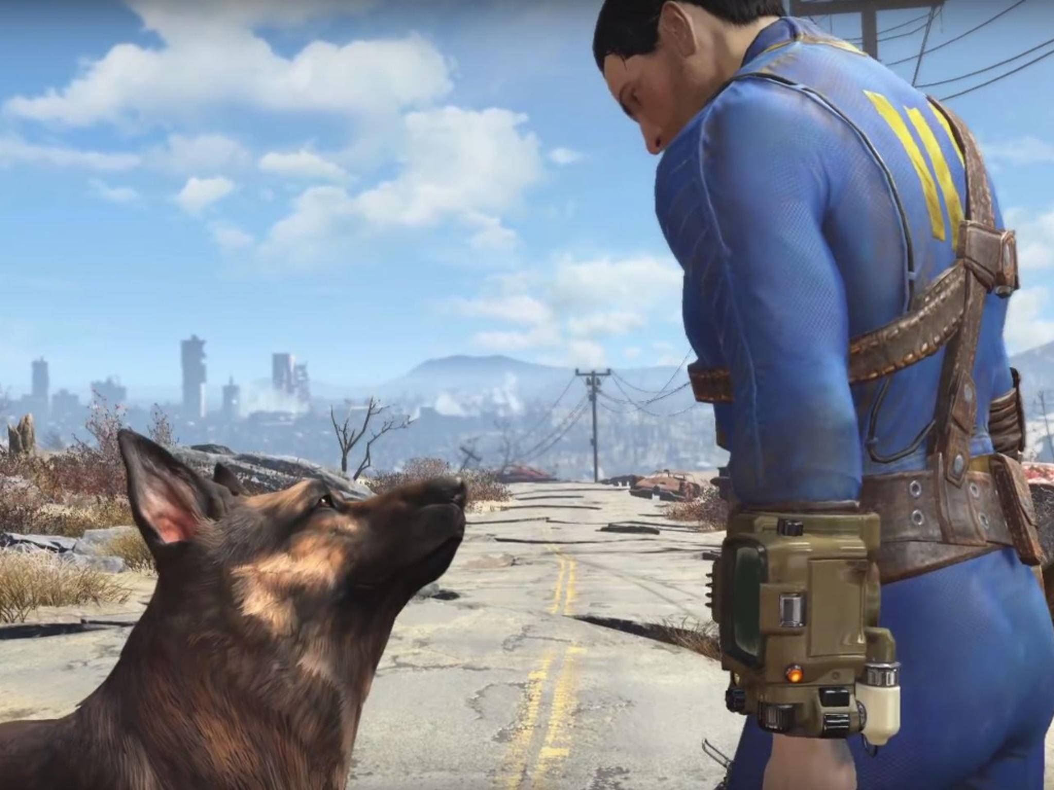 """Ein Mann und sein Hund: """"Fallout 4"""" spielt im Ödland von Boston."""