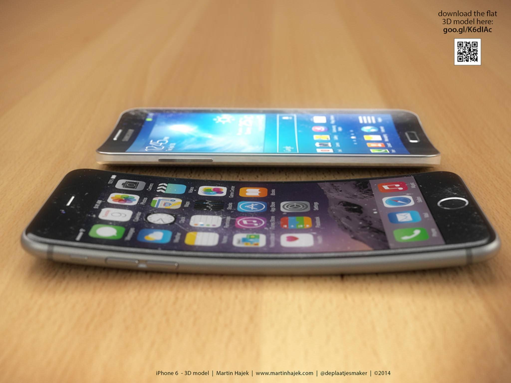 Gebogene iPhones gibt es bislang nur in Render-Konzepten.