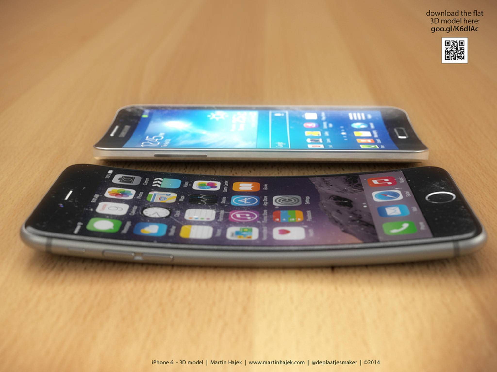 Gebogenes iPhone.Konzept