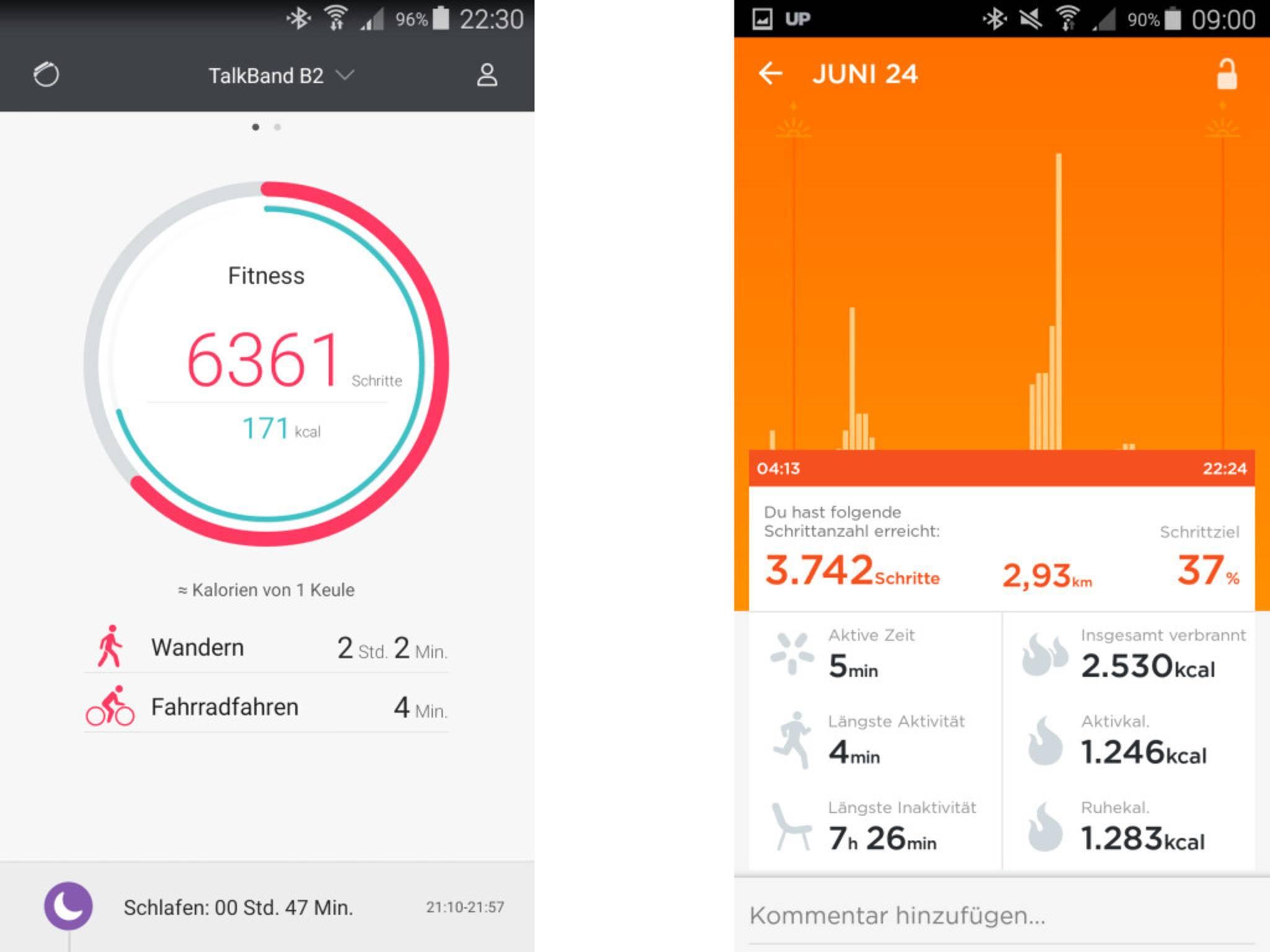 Bei der Übertragung an die Up-App wurden aus 6361 plötzlich 3742 Schritte.