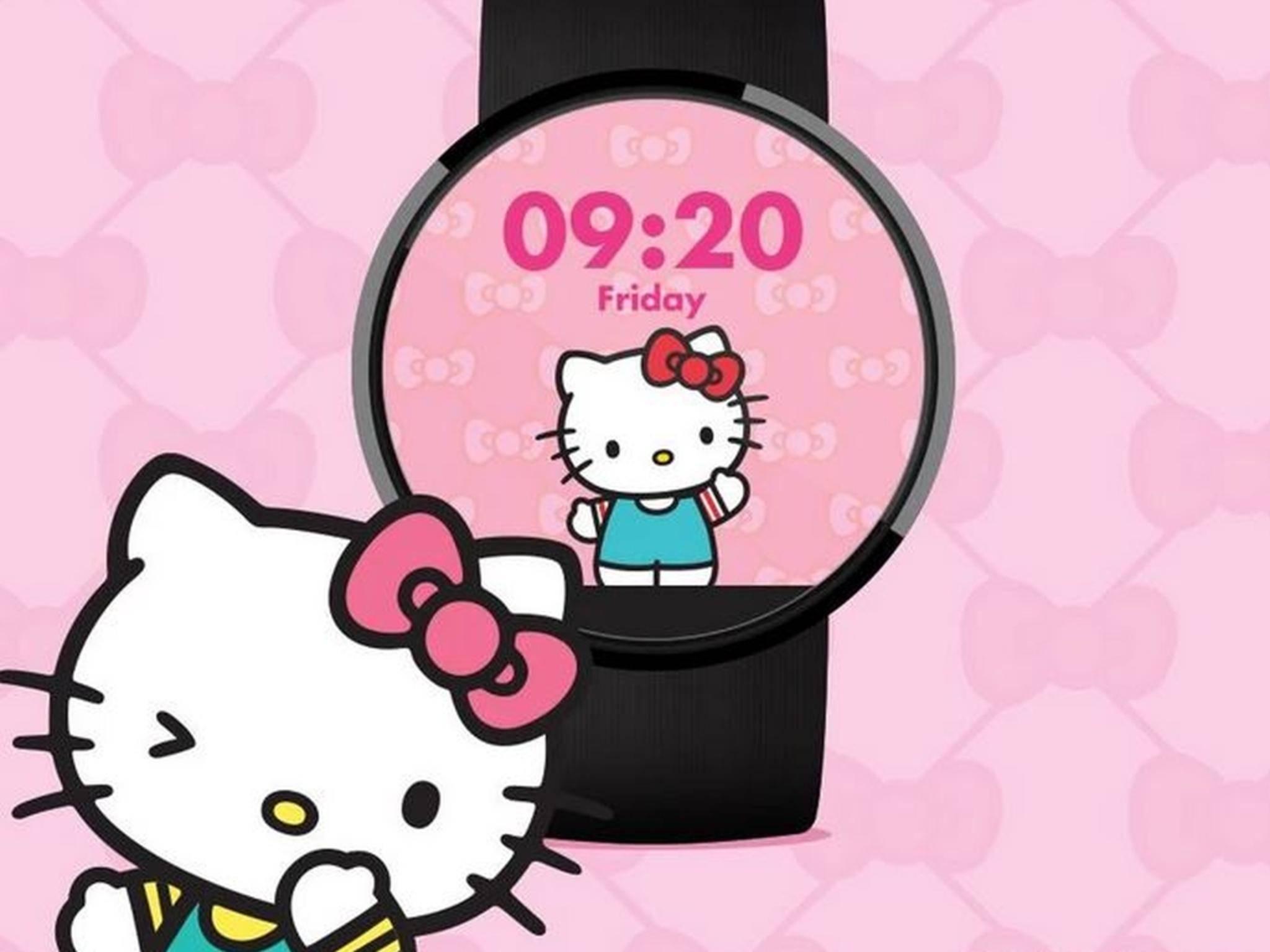 Android Wear mit Kätzchen: Hello Kitty kommt als Ziffernblatt für die Smartwatch.