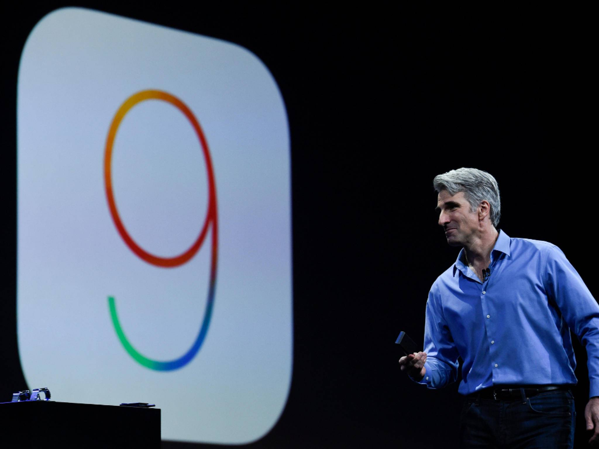 Craig Federighi führte auf der Keynote durch iOS 9.