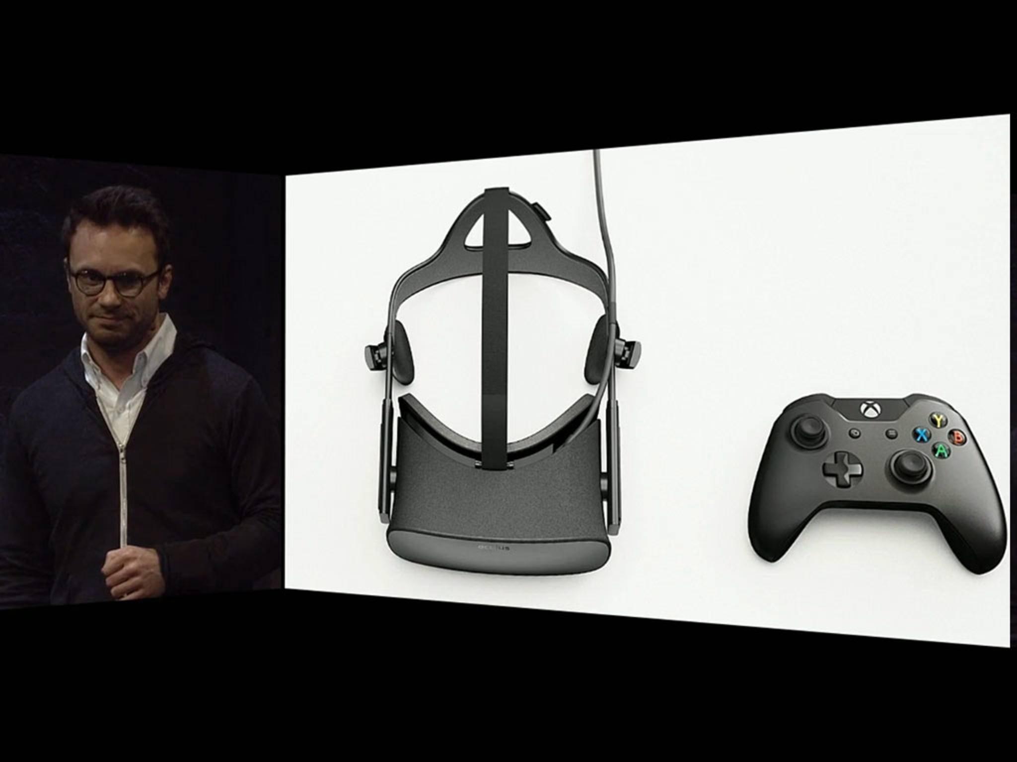 Oculus-Boss Brendan Iribe präsentiert die Kooperation mit Microsoft.