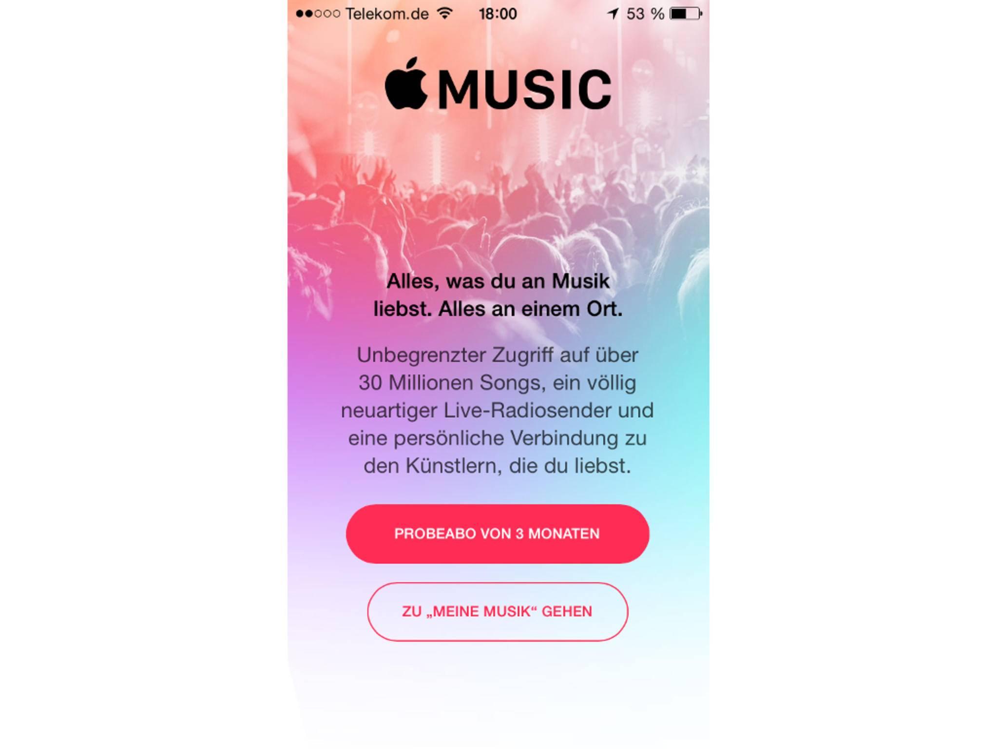 So sieht Apple Music beim ersten Start aus.
