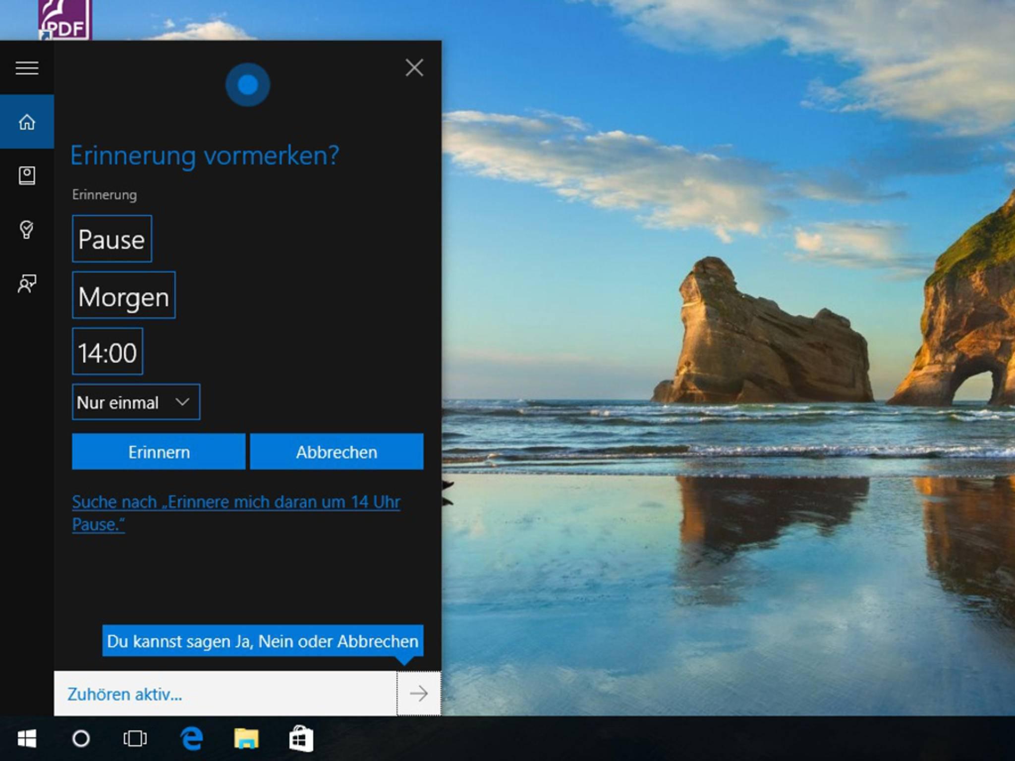 Termine lassen sich mit Cortana recht praktisch verwalten.