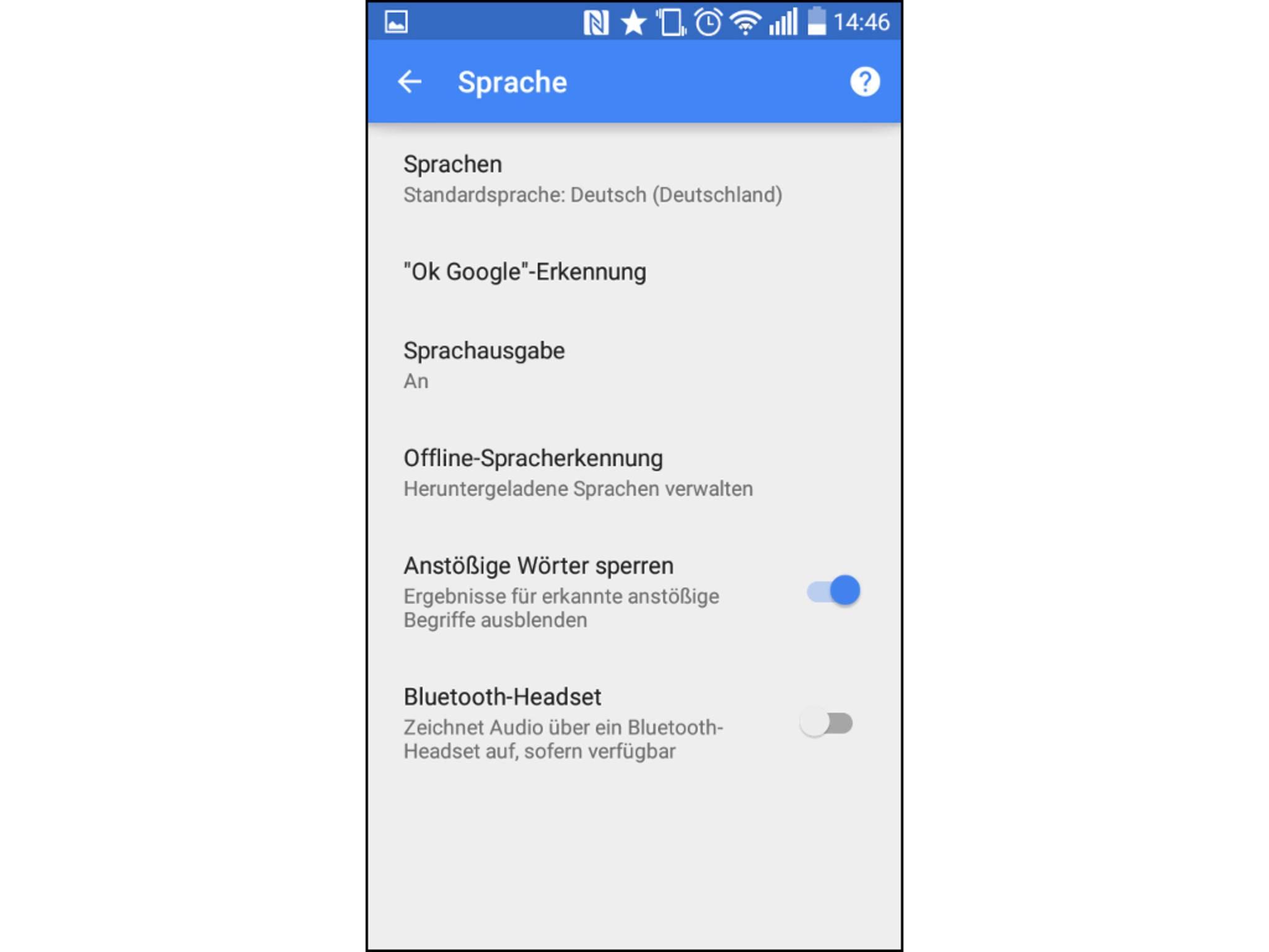 Im Menü lässt sich die Verfügbarkeit von Google Now einstellen.