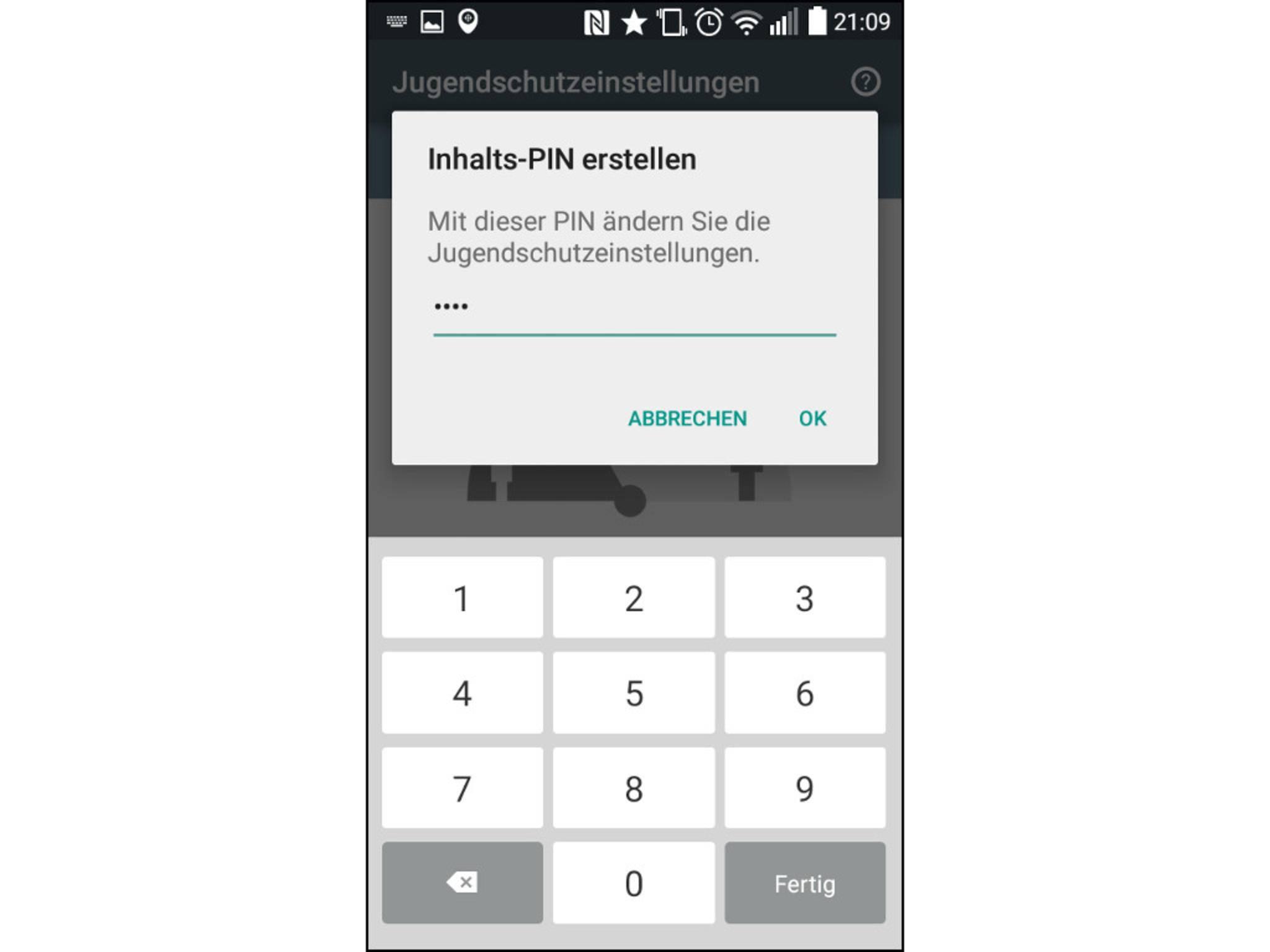 Eine Jugenschutz-PIN beschränkt den Zugriff auf Apps und Inhalte.
