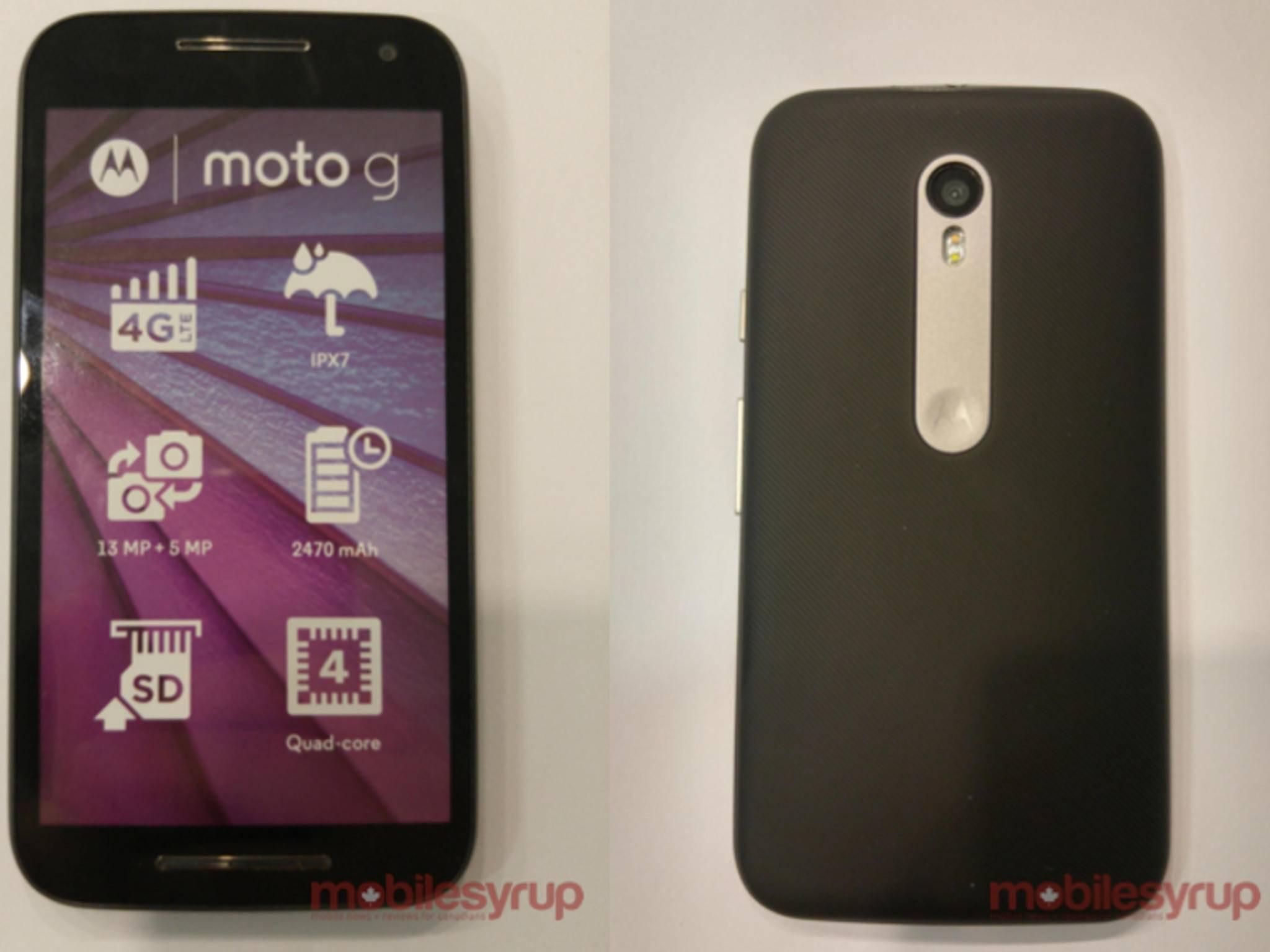 Die Folie auf dem Display zeigt einige der Spezifikationen des neuen Moto G.