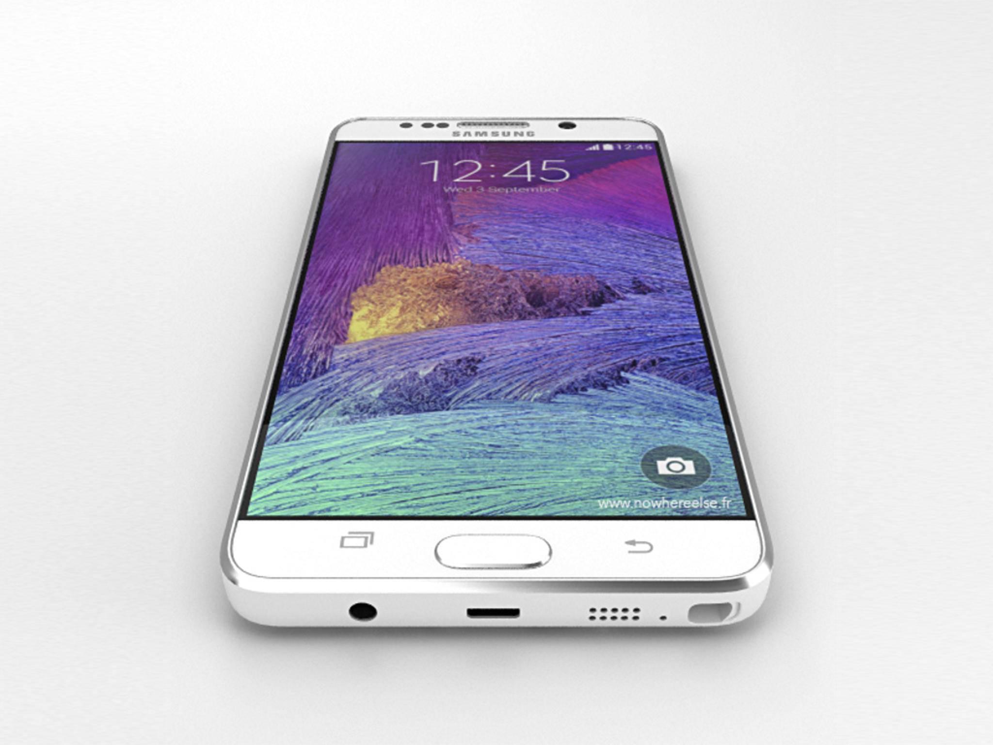 Sollten sich die bisherigen Gerüchte bewahrheiten, dann wird so das Galaxy Note 5 aussehen.