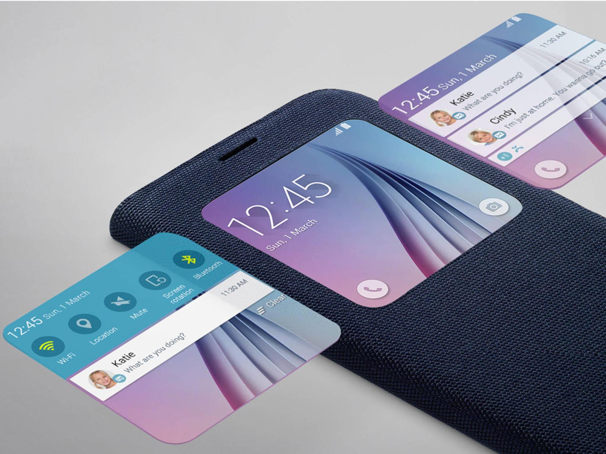 Wichtige Benachrichtigungen sind auch ohne Aufklappen des Galaxy S6 Smartphones einsehbar.