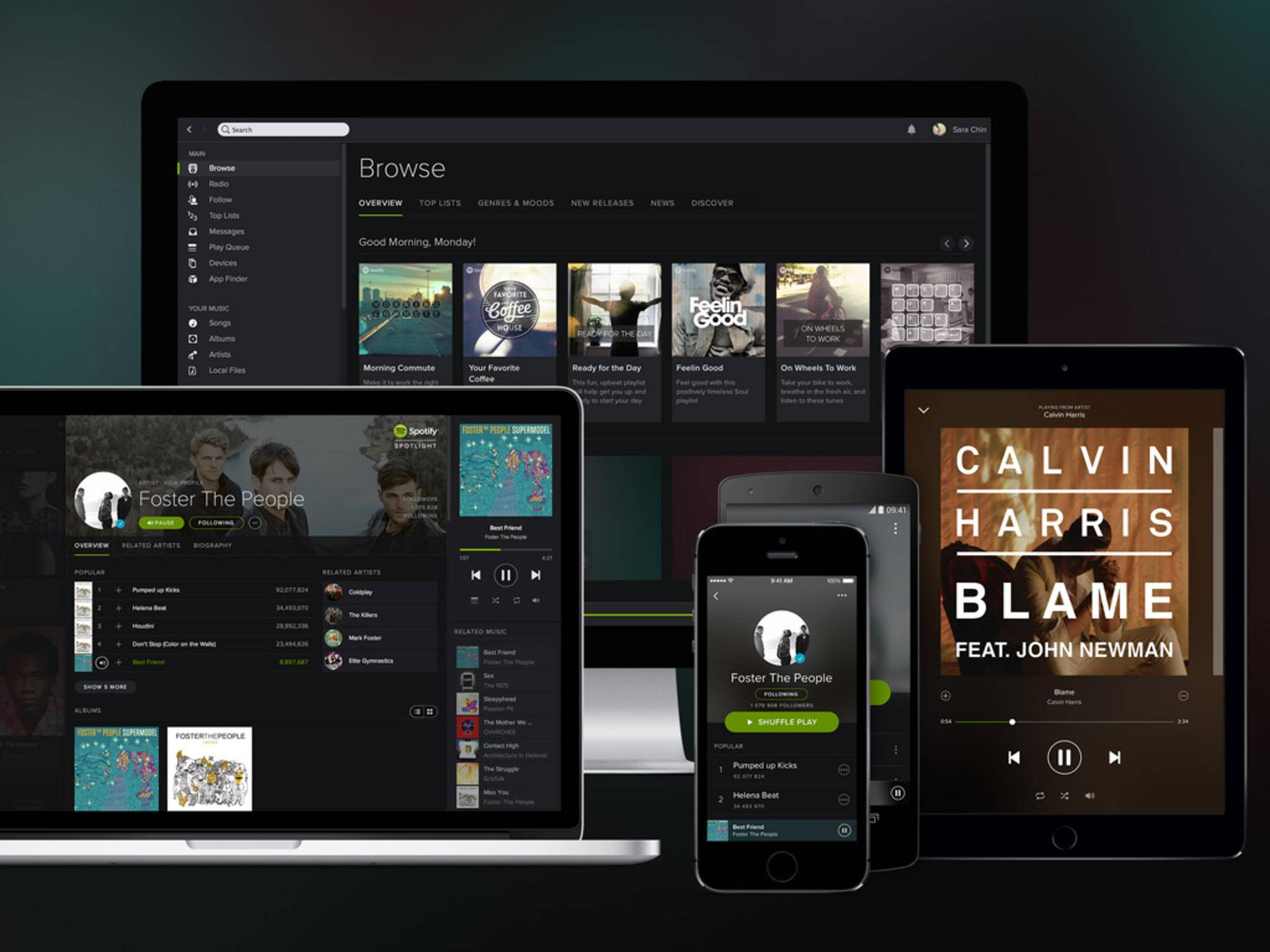 Spotify kannst Du auf vielen verschiedenen Geräten hören - auch gleichzeitig