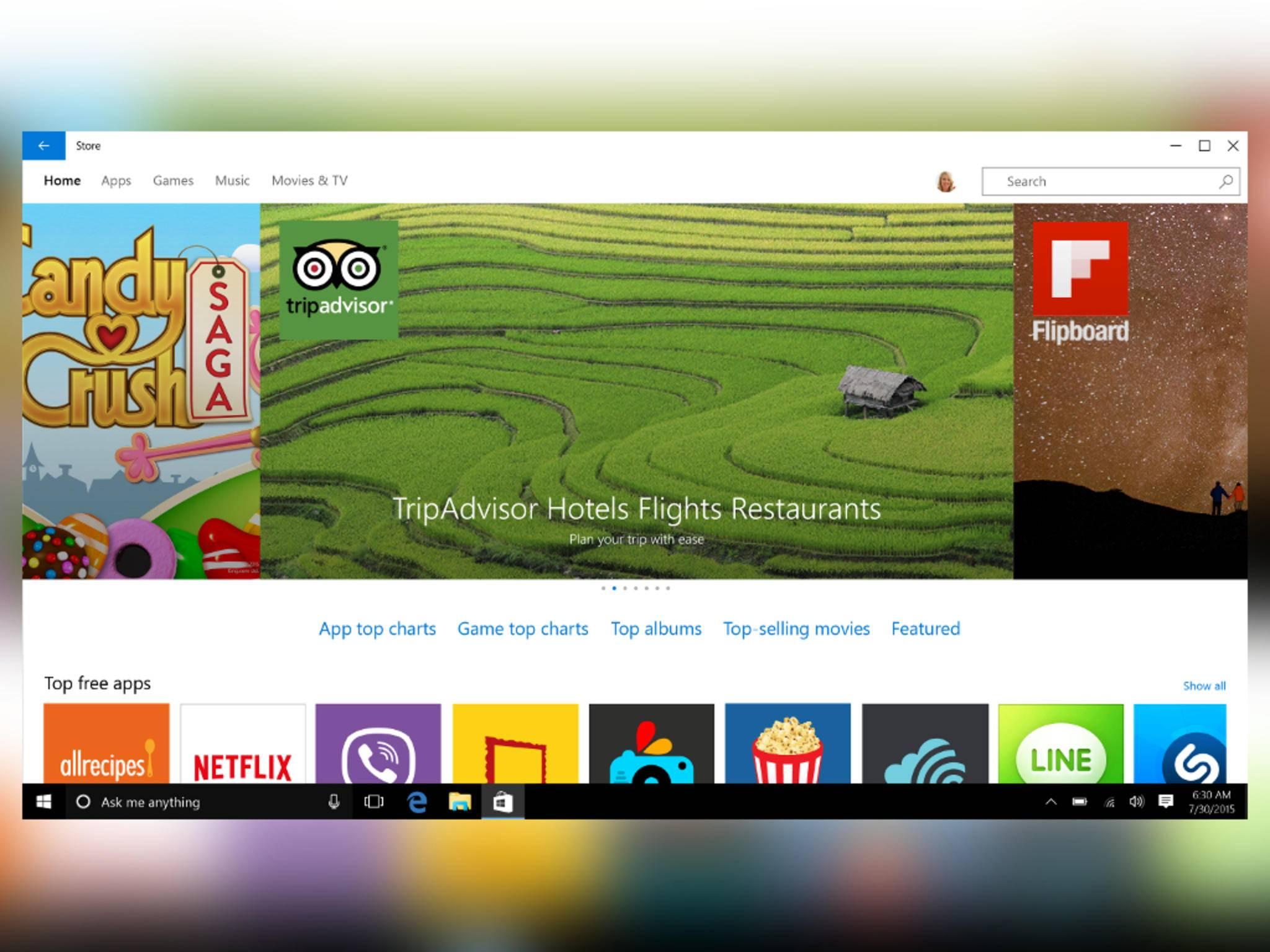 Der Windows Store wurde zum Start von Windows 10 überarbeitet.
