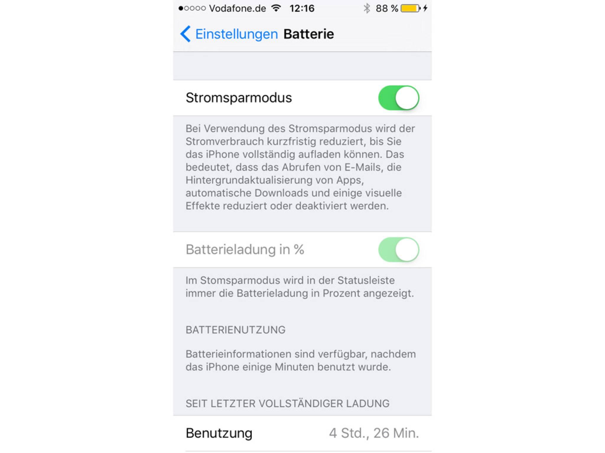 iOS9 Beta Energiesparmodus