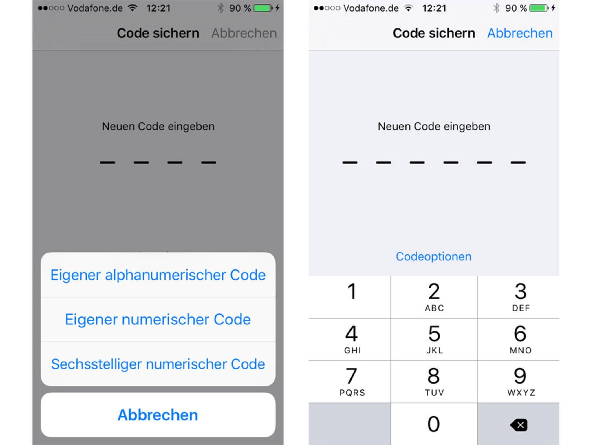 Apple hat sich auch um den Sicherheitsaspekt gekümmert und führt sechsstellige Passcodes ein.