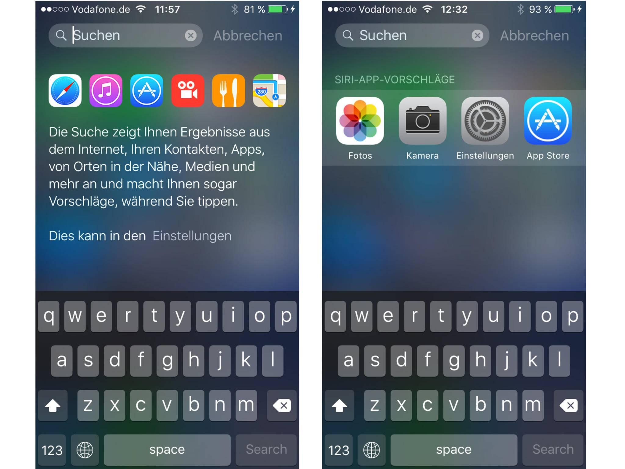 Die Spotlight-Suche hat einige Funktionen erhalten. Häufig genutzte Apps werden vorgeschlagen.