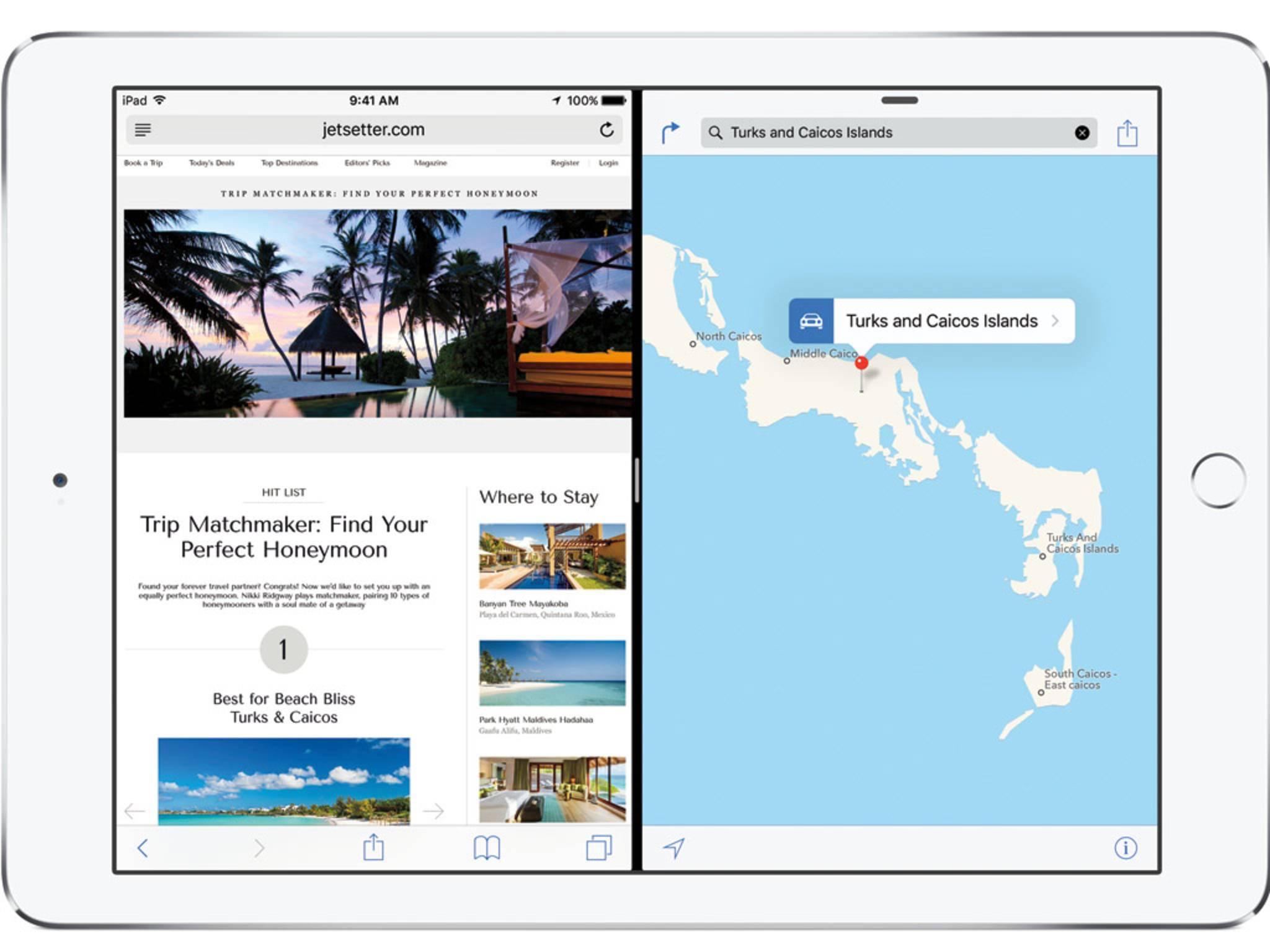 Die Split View-Funktion erlaubt die Anzeige zweier Apps.