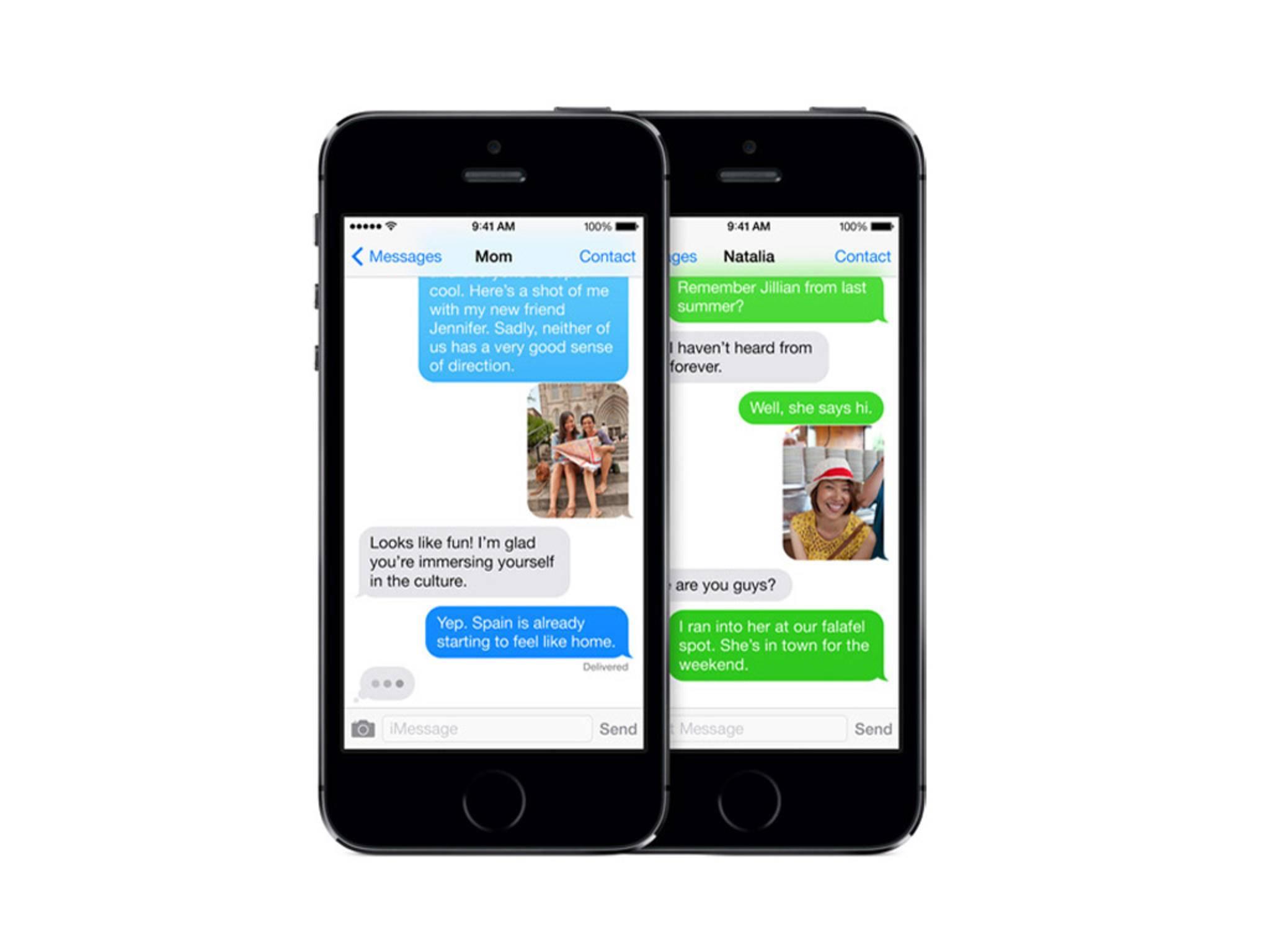 Apples iMessage erstrahlt in Blau, normale SMS hingegen in Grün.