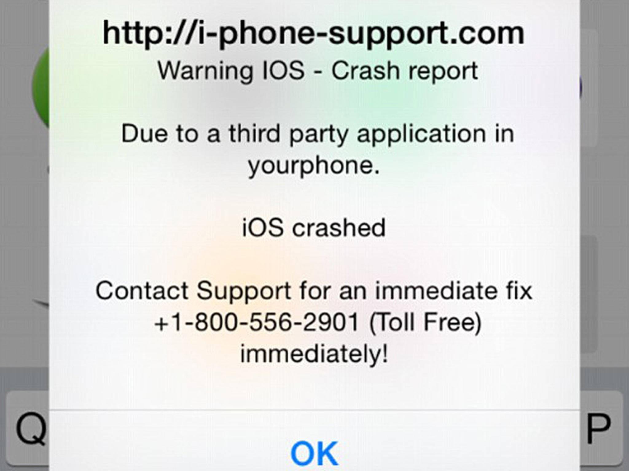 Mit dieser Meldung sollen ahnungslose iPhone-Besitzer hinterlistig getäuscht werden.