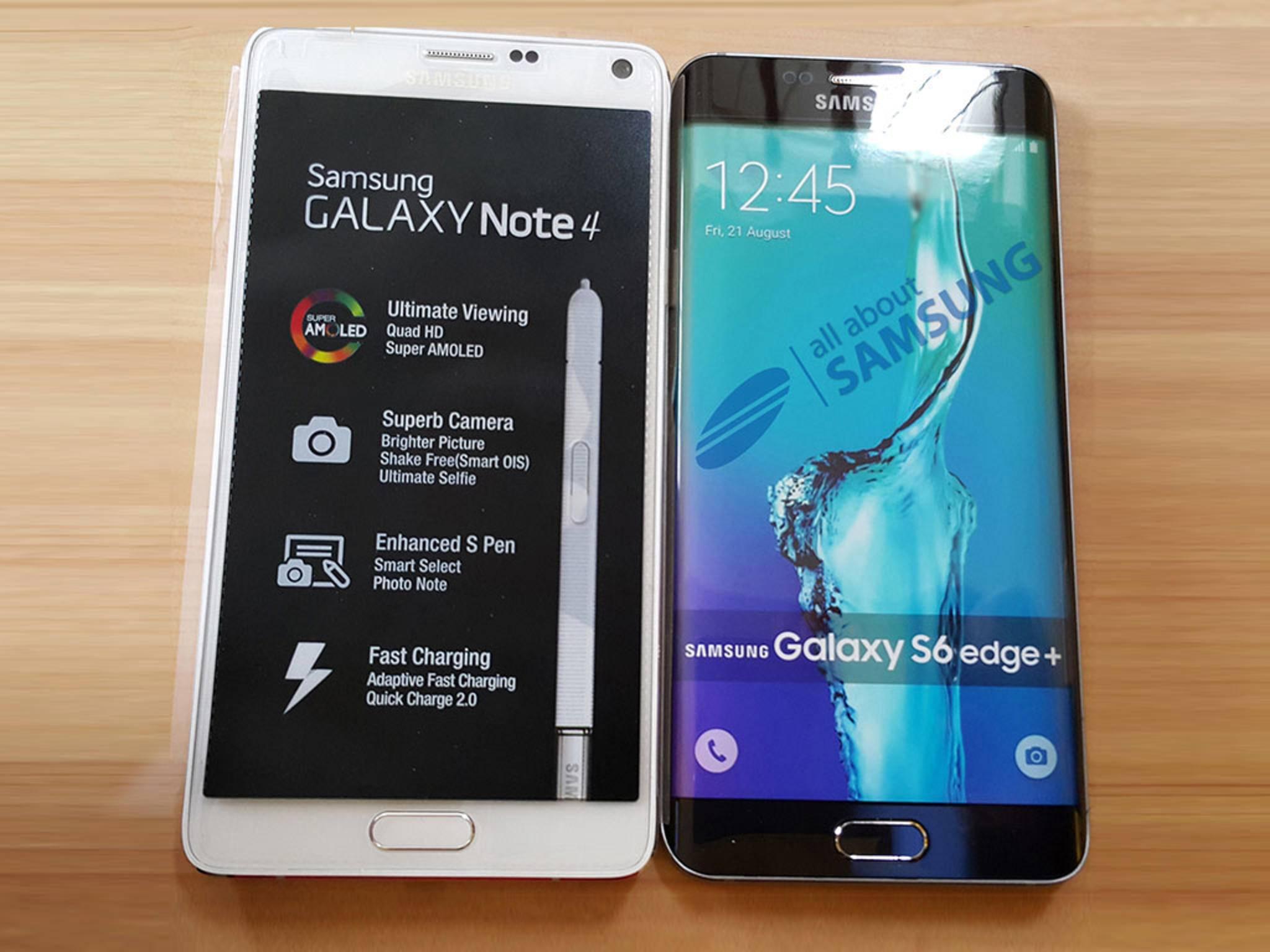 Das neue Galaxy S6 Edge+ im Vergleich zum Galaxy Note 4.
