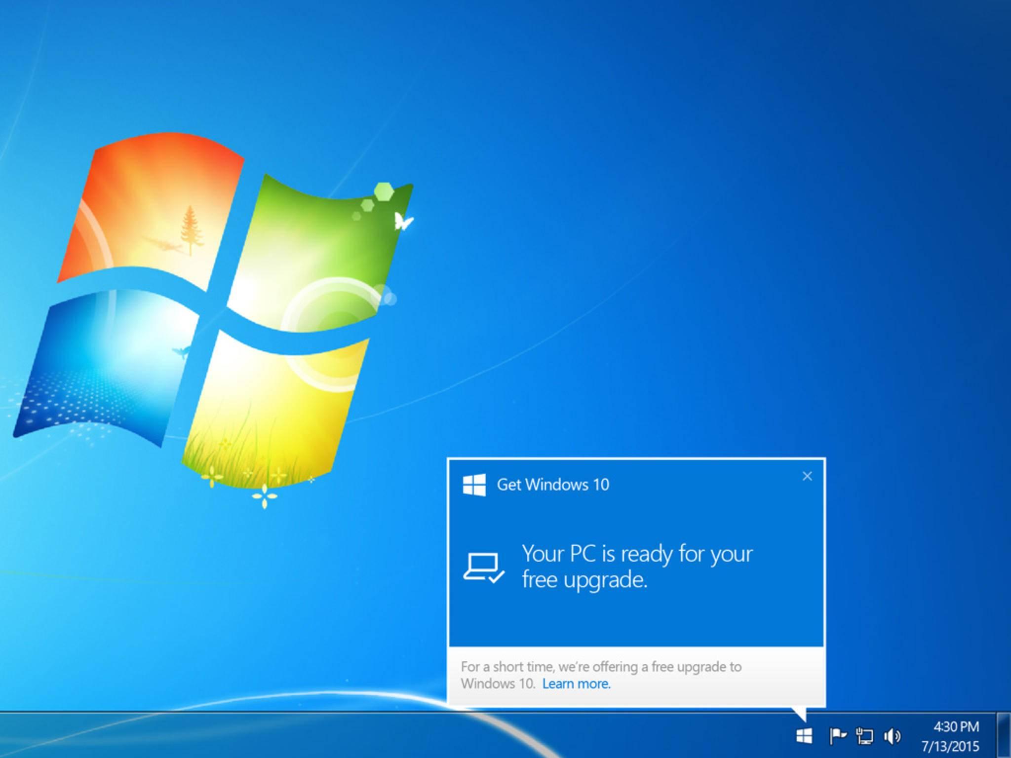 Microsoft liegt sehr viel daran, dass Du Windows 10 installierst.
