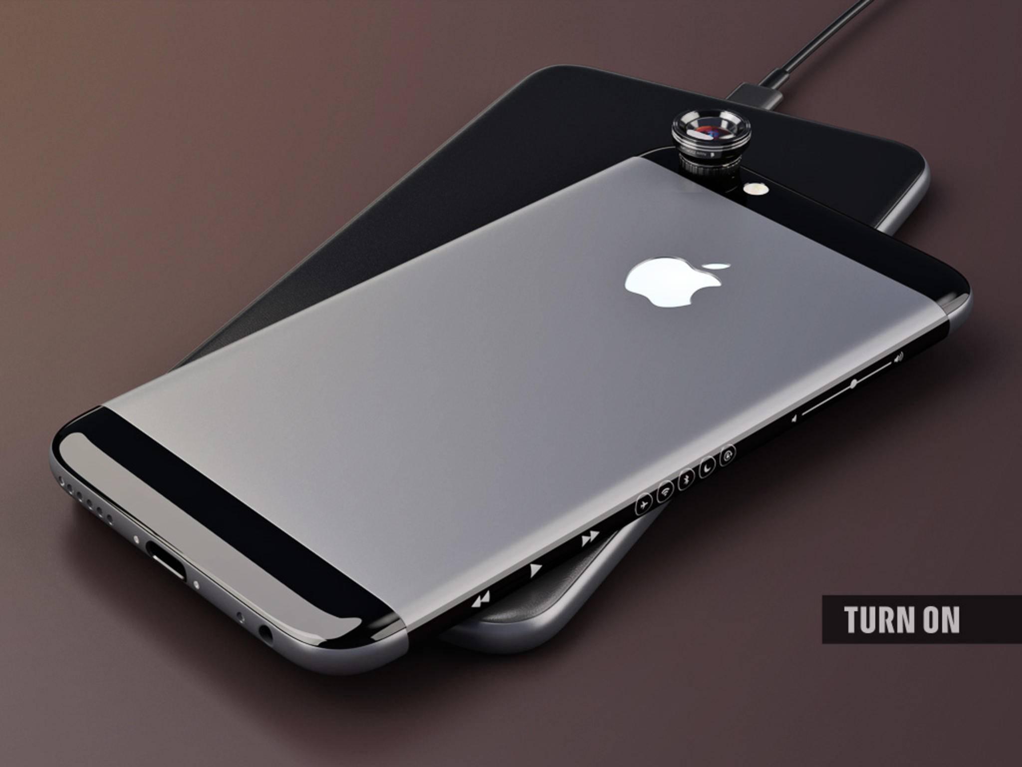 Die Rückseite unseres iPhone 7 besteht aus Glas und Metall. Die Auflagefläche der Ladestation ist mit Kunstleder bezogen.