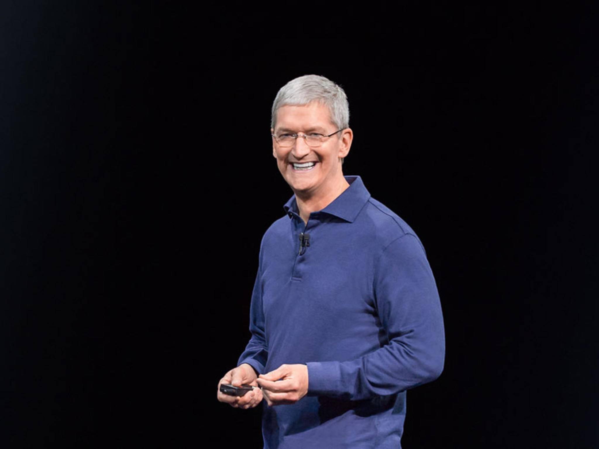 Hat gut lachen: Tim Cook feiert mit Apple den 40. Geburtstag.