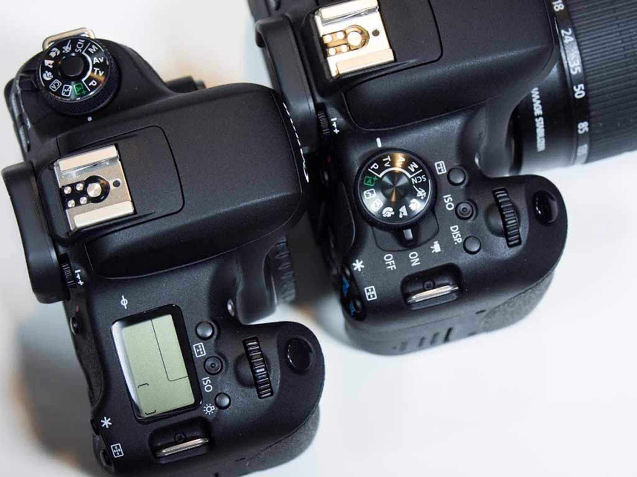Die beiden Schwestermodelle EOS 750D und EOS 760 D unterscheiden sich durch das Display und ...