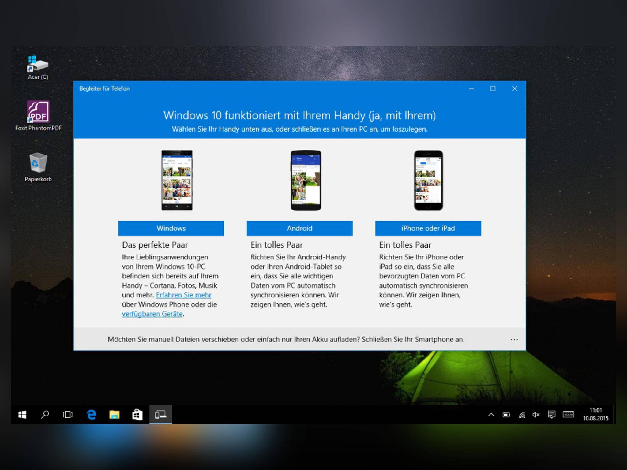 Windows 10 versteht sich auch mit Android und iOS.