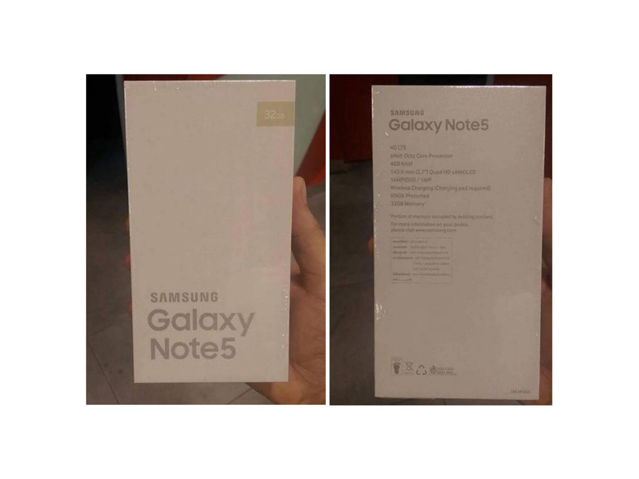 Die Verpackung des Galaxy Note 5 bestätigt die meisten Specs.