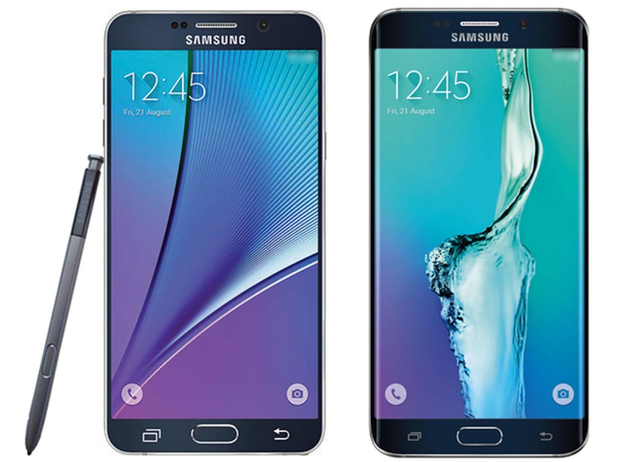 Pressebilder des Galaxy Note 5 und Galaxy S6 Edge+.