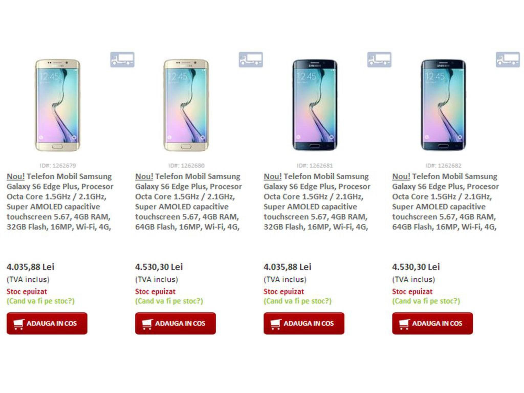 Ein rumänischer Zwischenhändler veröffentlichte bereits Preise des Galaxy S6 Edge+.