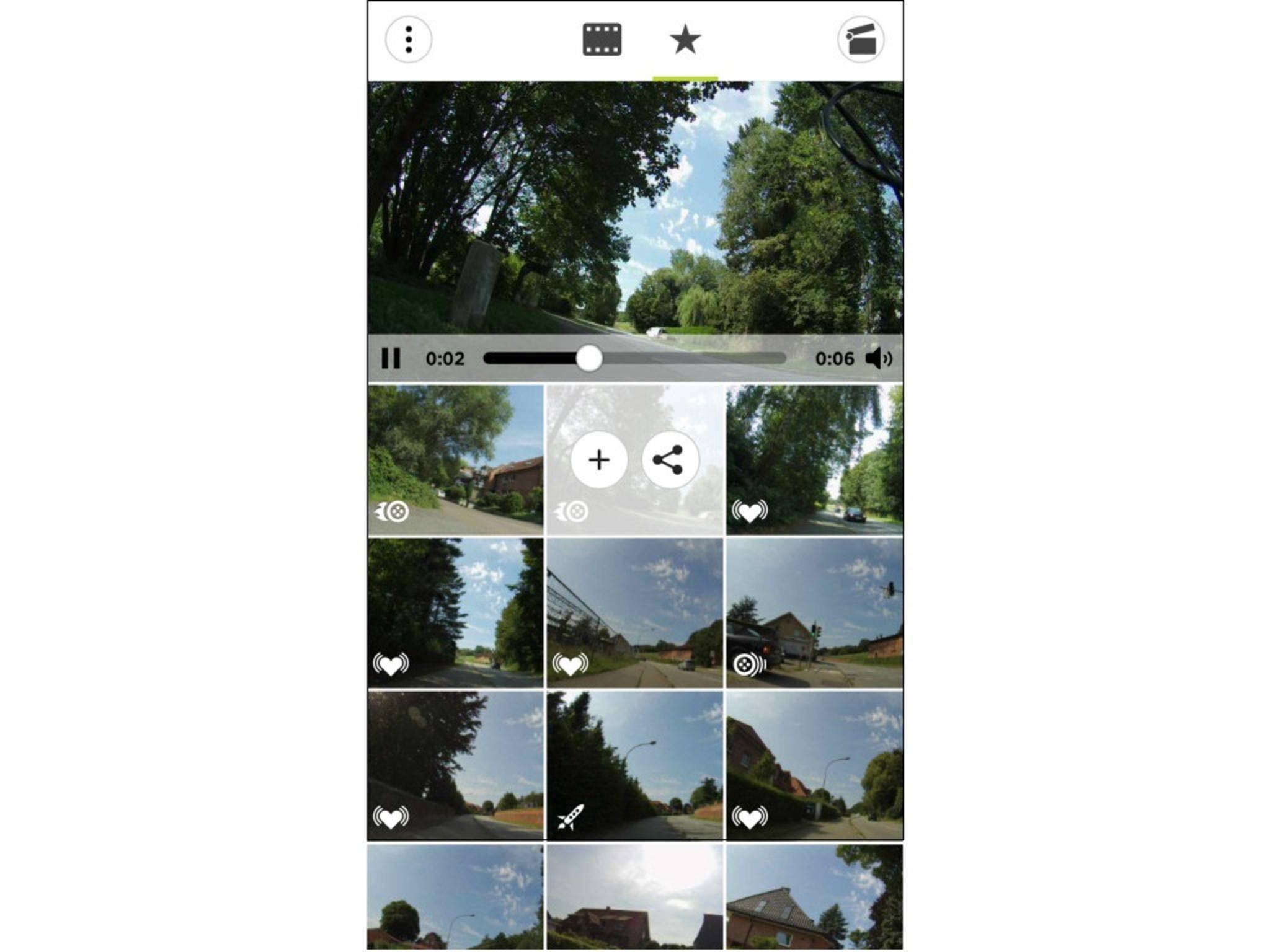 Die App ordnet den Clips eigenständig Highlight-Tags zu.