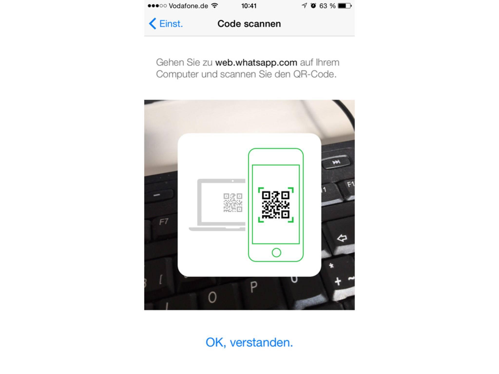 """Die Kamera wird geöffnet und """"web.whatsapp.com"""" muss am PC eingetippt werden."""