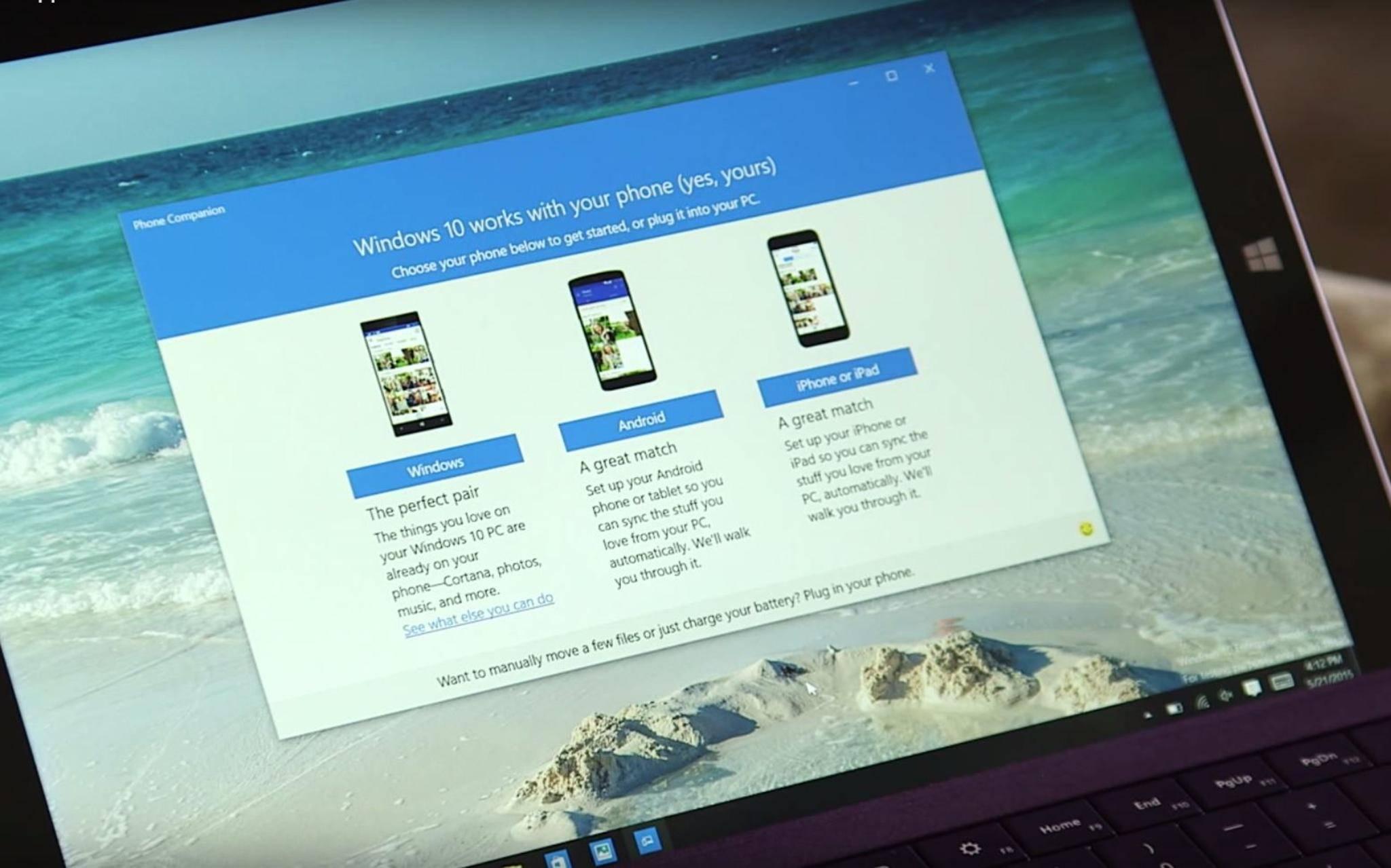 Über die Begleiter-App lässt sich Windows 10 mit Android und iOS synchronisieren.