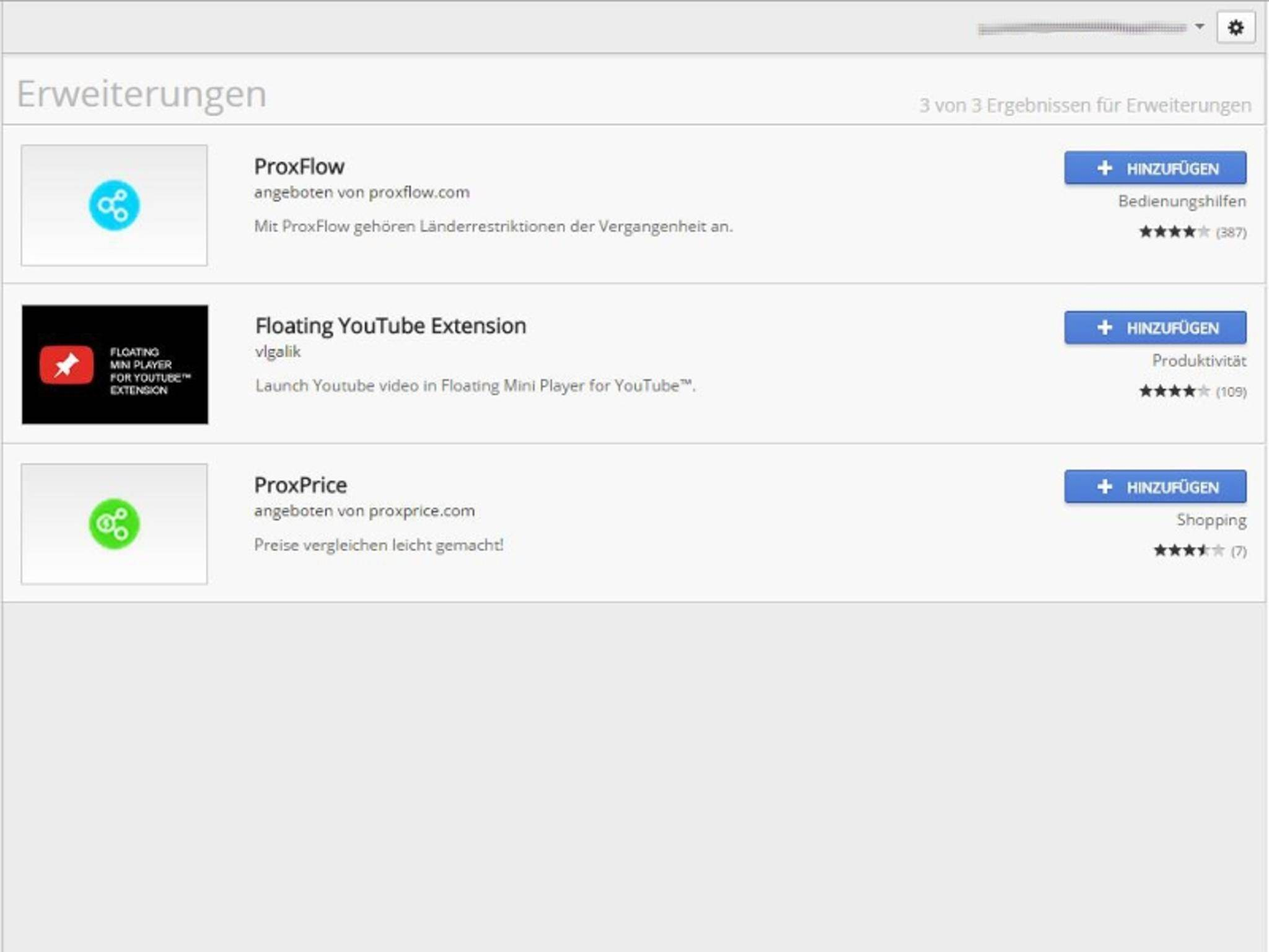 ProxFlow lässt sich im Chrome Web Store herunterladen.
