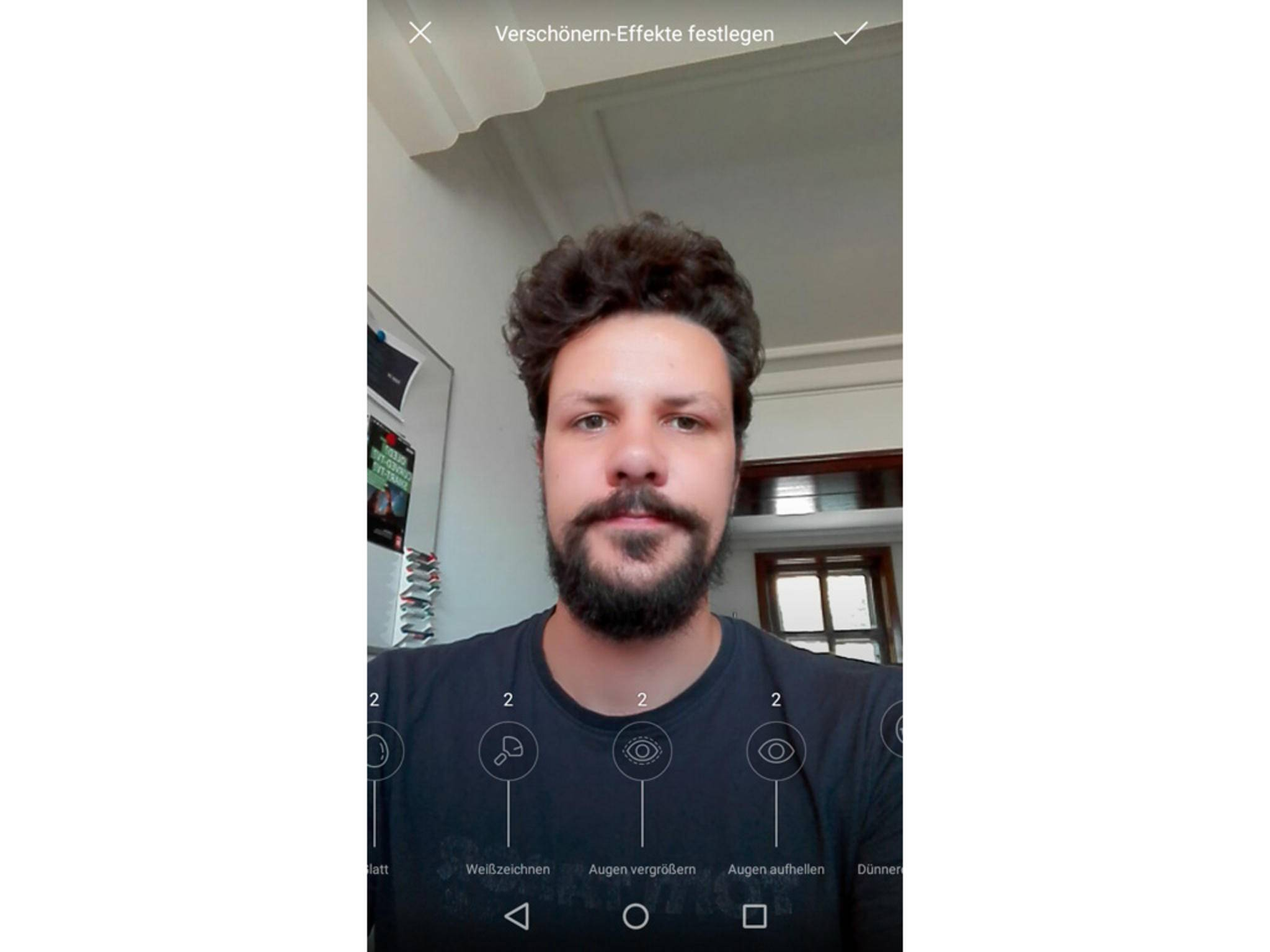 In der Kamera-App kann man festlegen, wie stark sich Verschönerungseffekte auswirken.