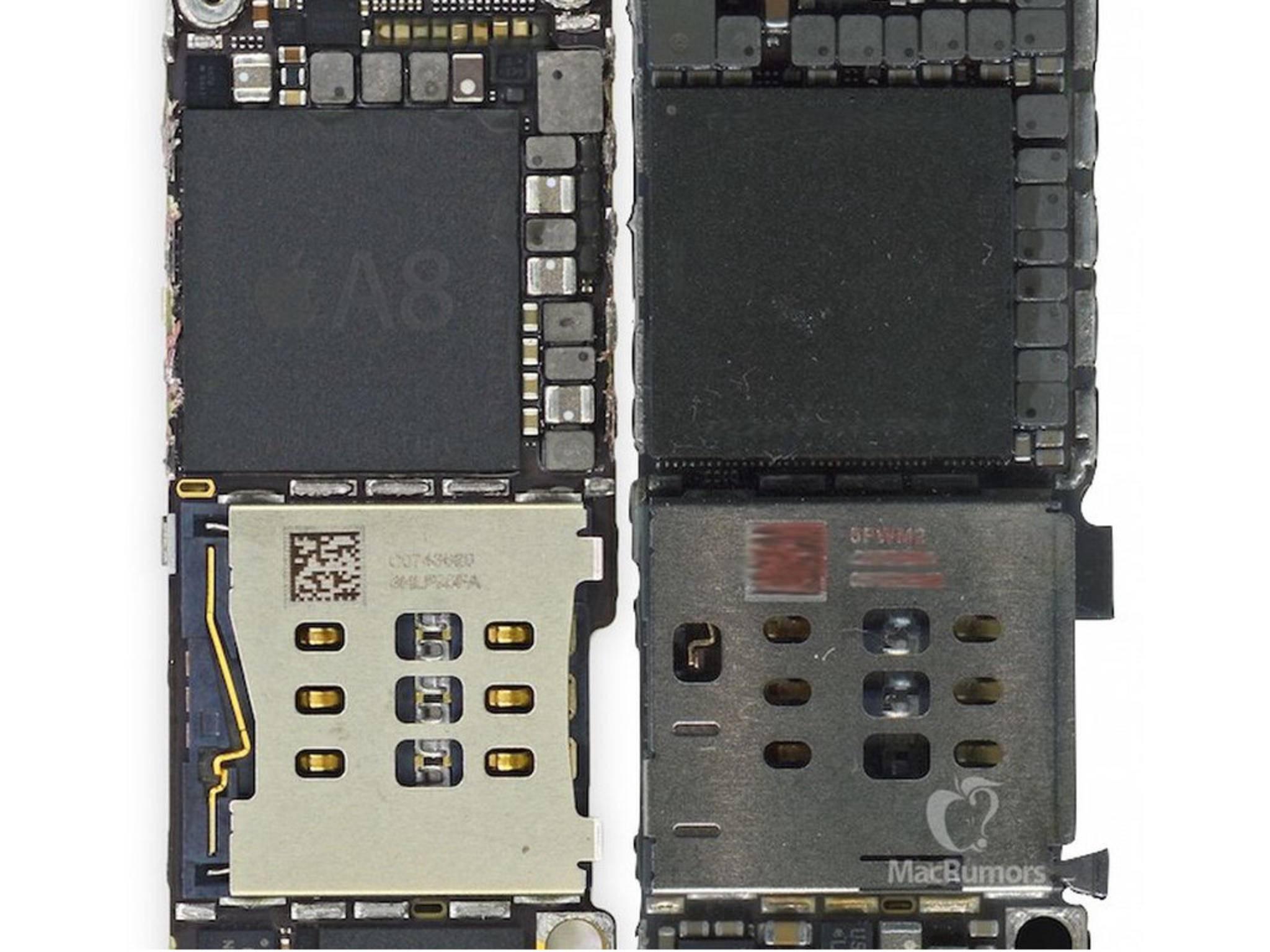 Der vermeintliche A9-Chip (rechts)ist etwas größer als der A8-Chip (links).
