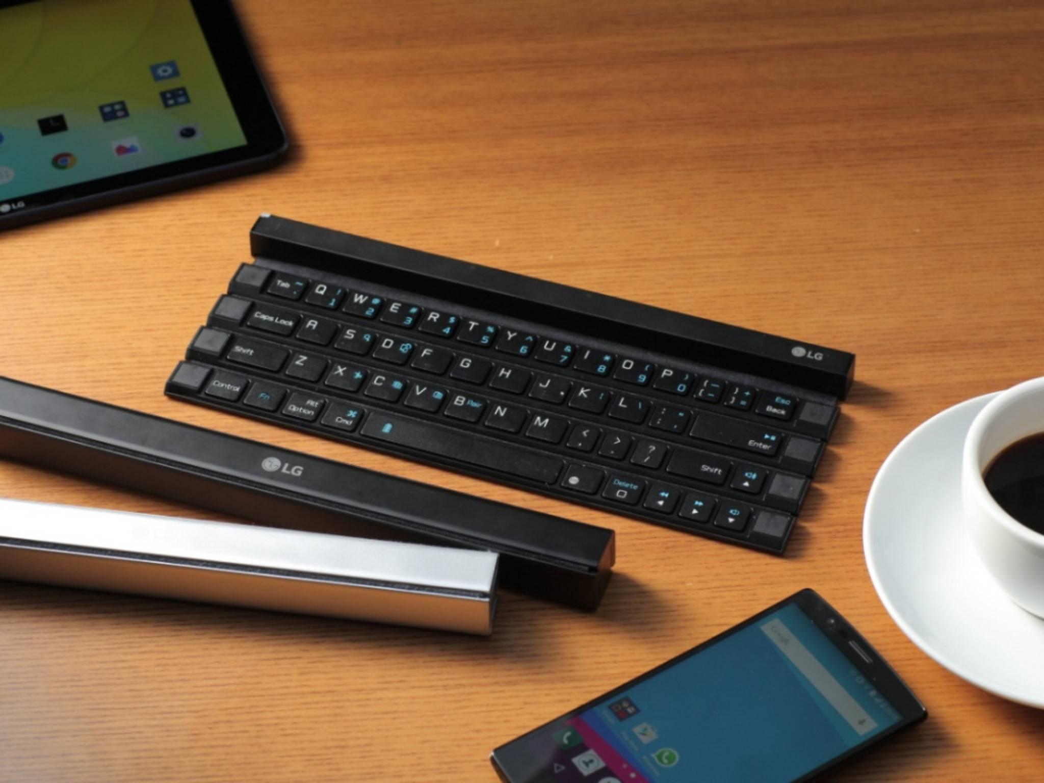 Mit dem LG Rolly Keyboard kommt eine neue Bluetooth-Tastatur auf die mobilen Schreibtische.